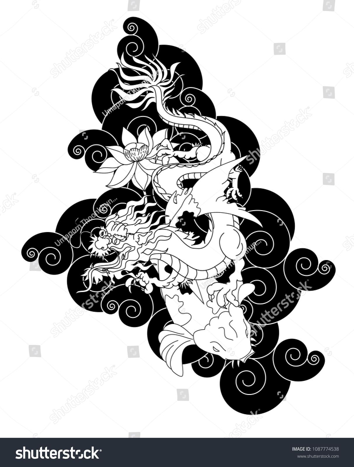 Japanese dragon koi carp lotus flower stock vector 1087774538 japanese dragon and koi carp with lotus flower on cloud backgroundlorful chinese tattoo design izmirmasajfo