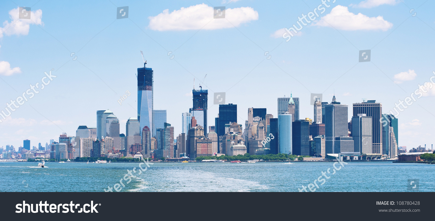 panoramic image lower manhattan skyline staten stock photo 108780428 shutterstock. Black Bedroom Furniture Sets. Home Design Ideas
