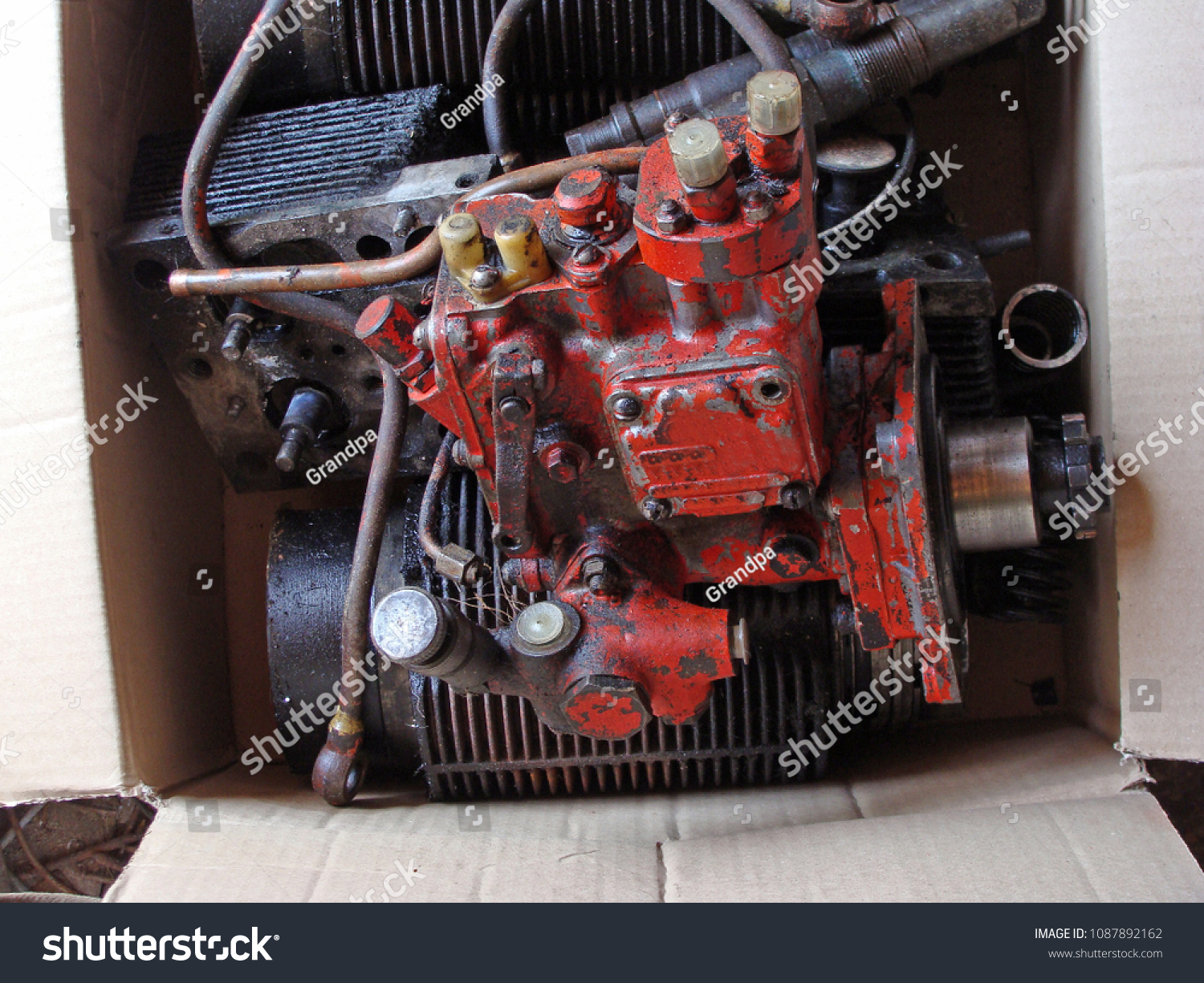 Red Color Garden Tractor Diesel Engine Stock Photo (Edit Now
