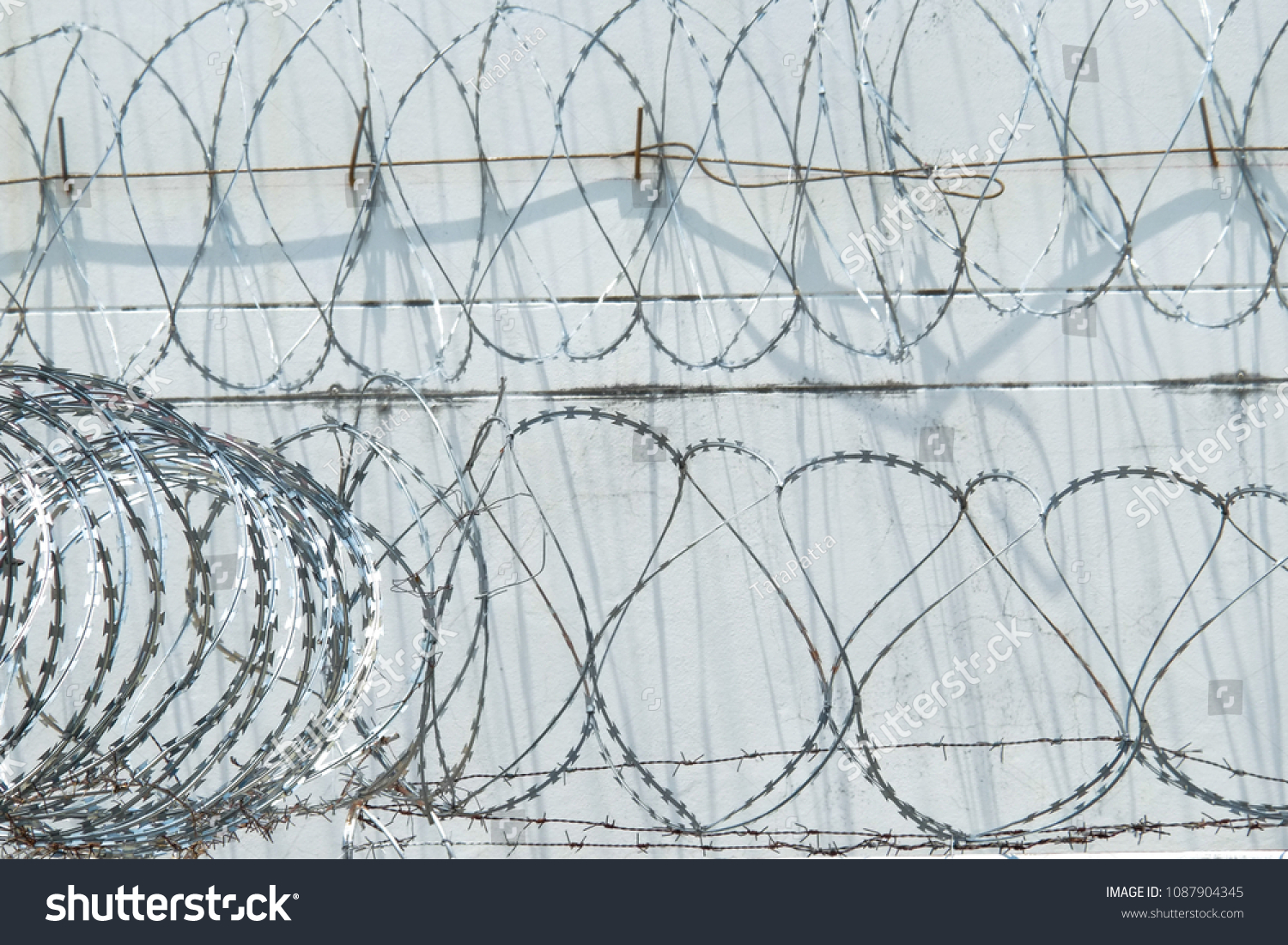 Spiral Razor Wire Fence Barbed Wire Stock Photo (Edit Now ...