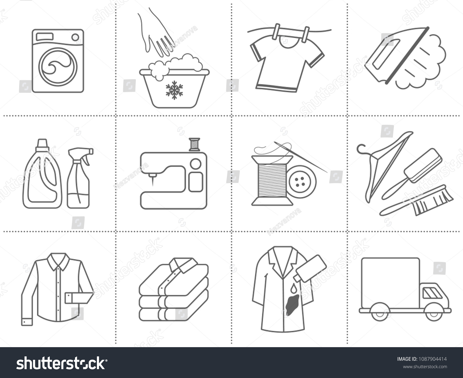 Dry Cleaning Laundry Cloth Washing Service Stock Vector Royalty