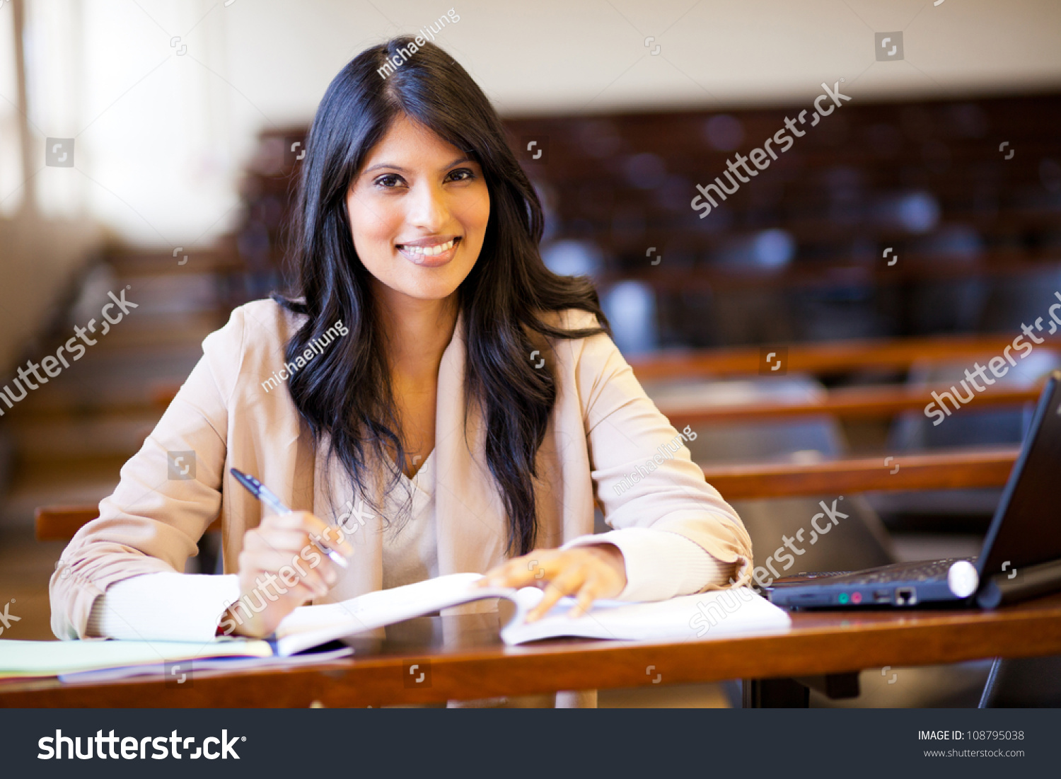 beautiful female indian college girl lecture stock photo (edit now