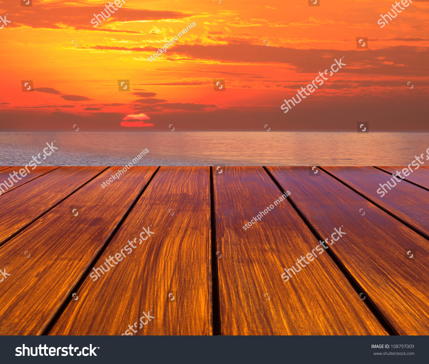 Wood terrace perspective and sun set stock photo 108797009 for 4758 setting sun terrace
