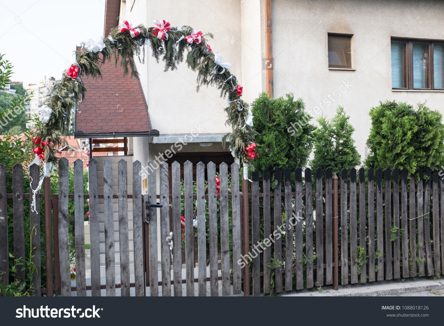 Decorated Gate Wedding Day Decoration Flower Stock Photo Edit Now 1088018126