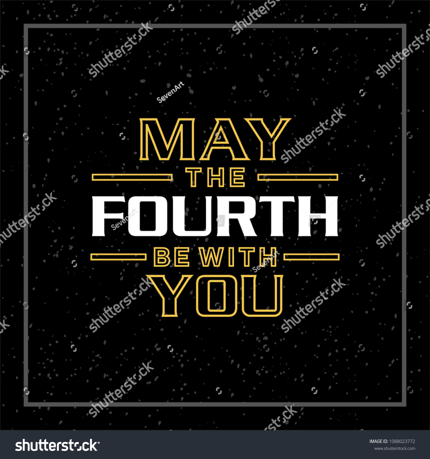 Stock Vector May The Th Be With You Yellow Letters On Dark Grunge Background Holiday