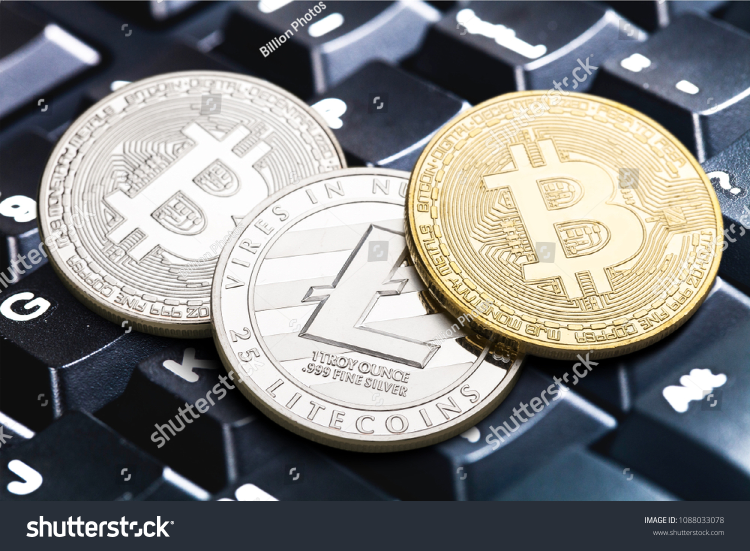Cryptocurrency Coins Litecoin Bitcoin Stock Photo (Edit Now