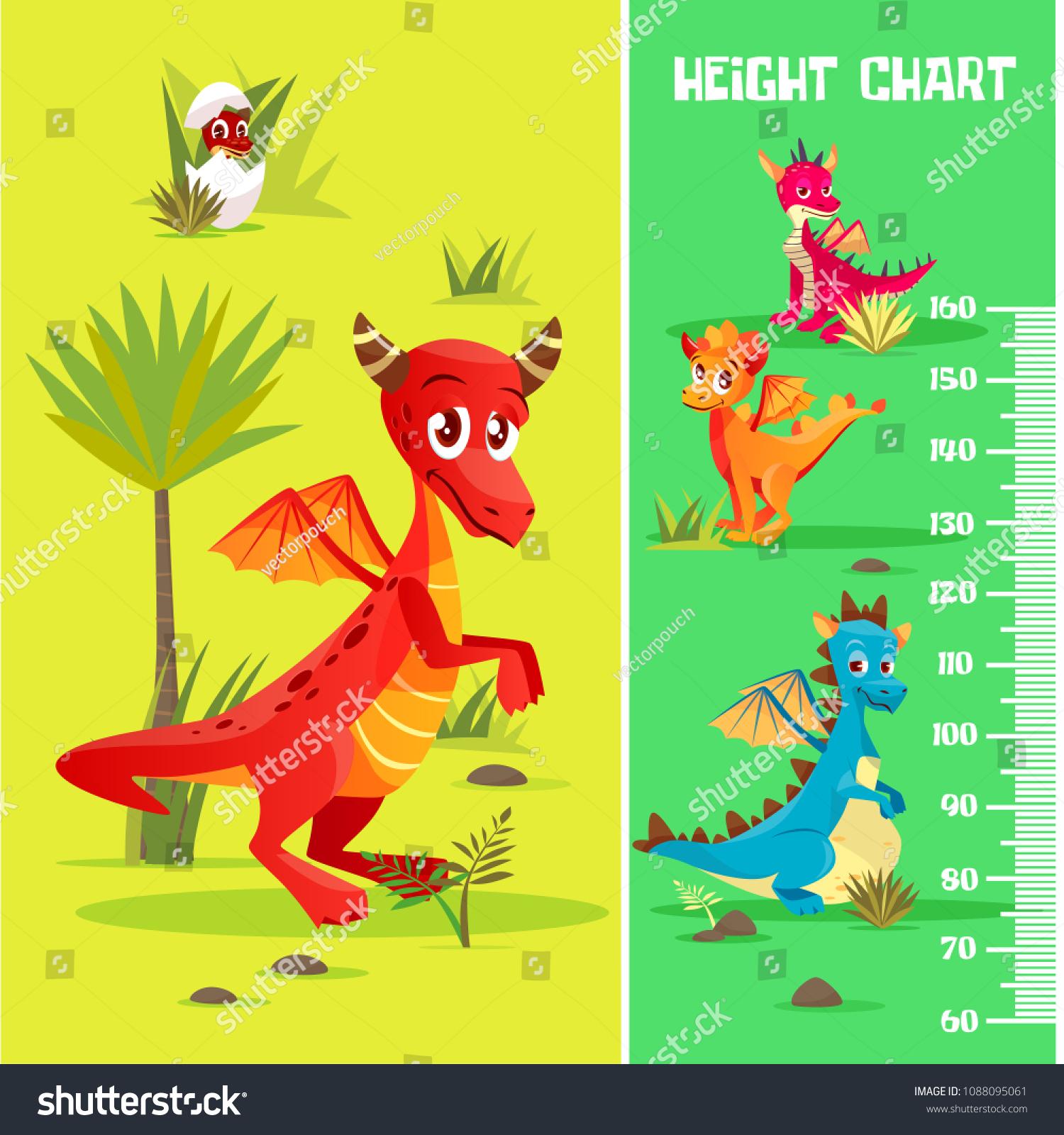 Vector Height Chart Prehistoric Dinosaur Creatures Stock Vector ...