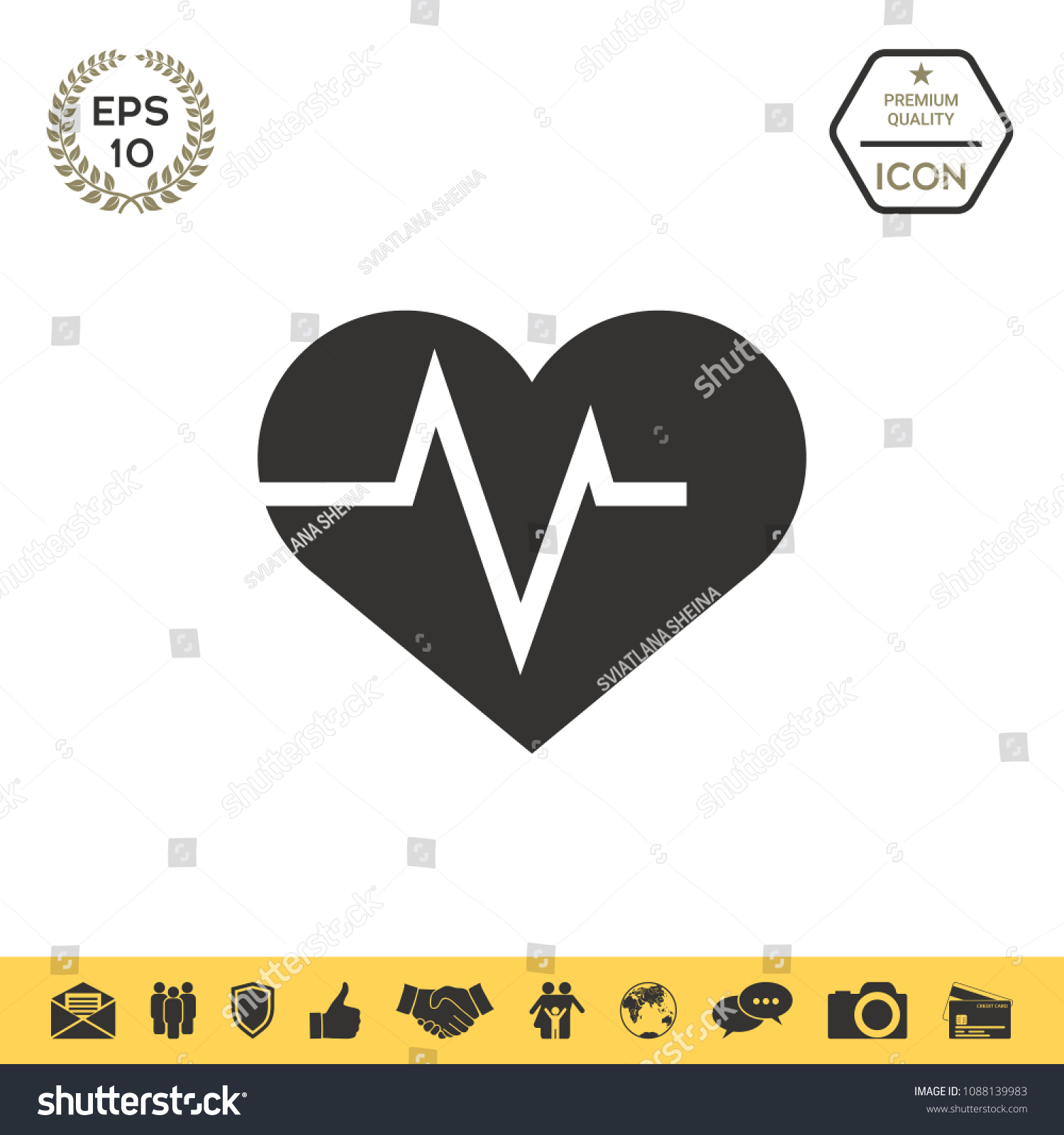 Heart Ecg Wave Cardiogram Symbol Medical Stock Vector Hd Royalty