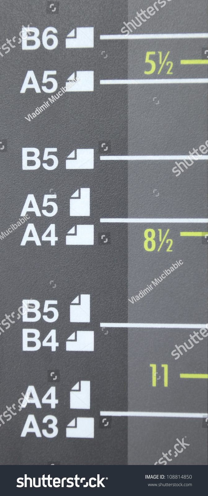 Paper Size A3 A4 A5 B4 Stock Photo 108814850 - Shutterstock