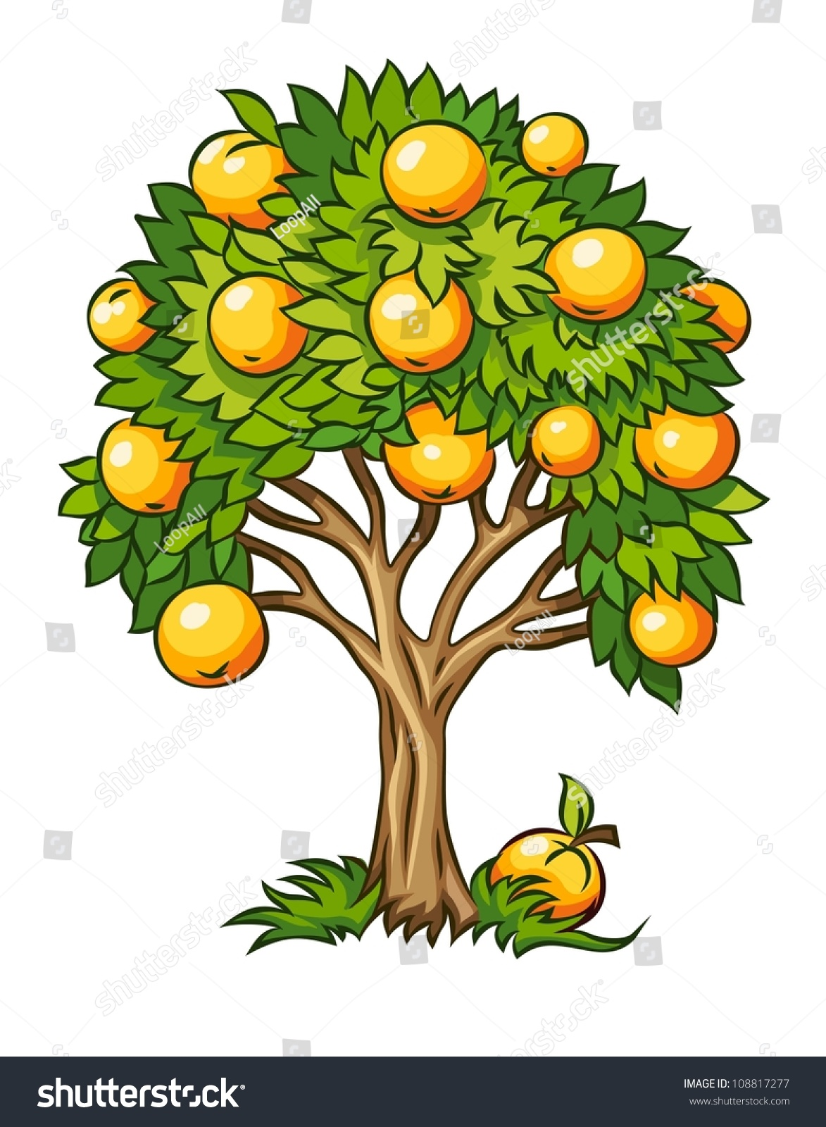 Vector Illustration Tree: Fruit Tree Vector Illustration Isolated On Stock Vector