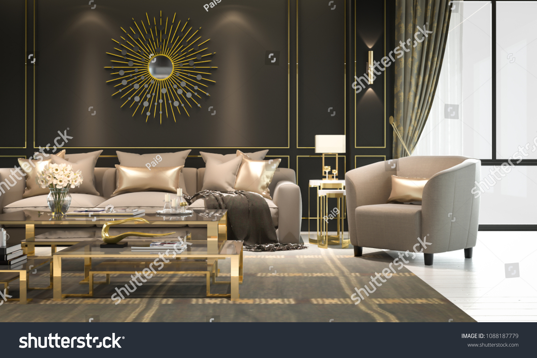 Interior Living Room Modern Classic Luxury Interiors Stock