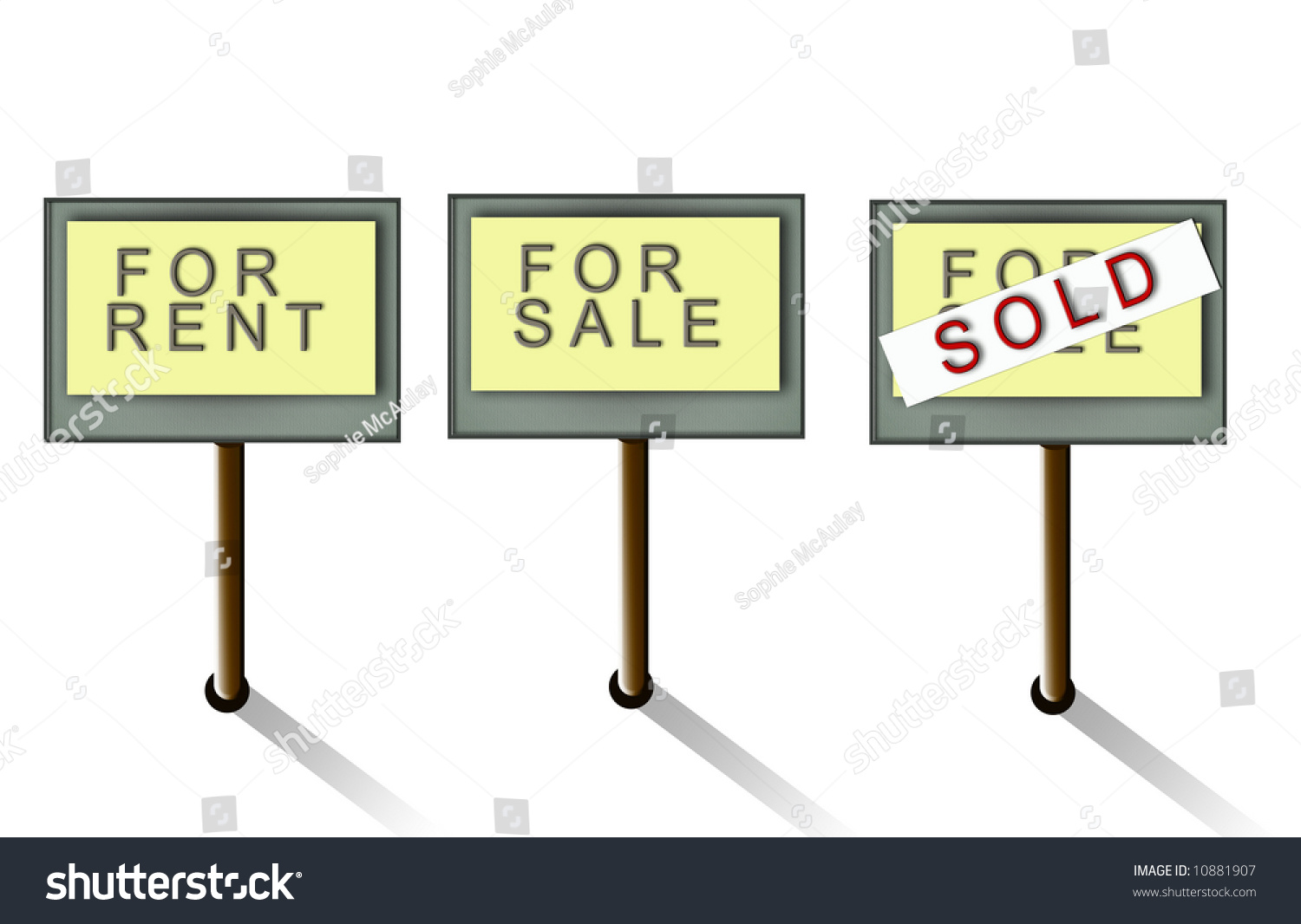 For Sale Sold Sign: Signs Depicting For Sale, Sold And For Rent Stock Photo