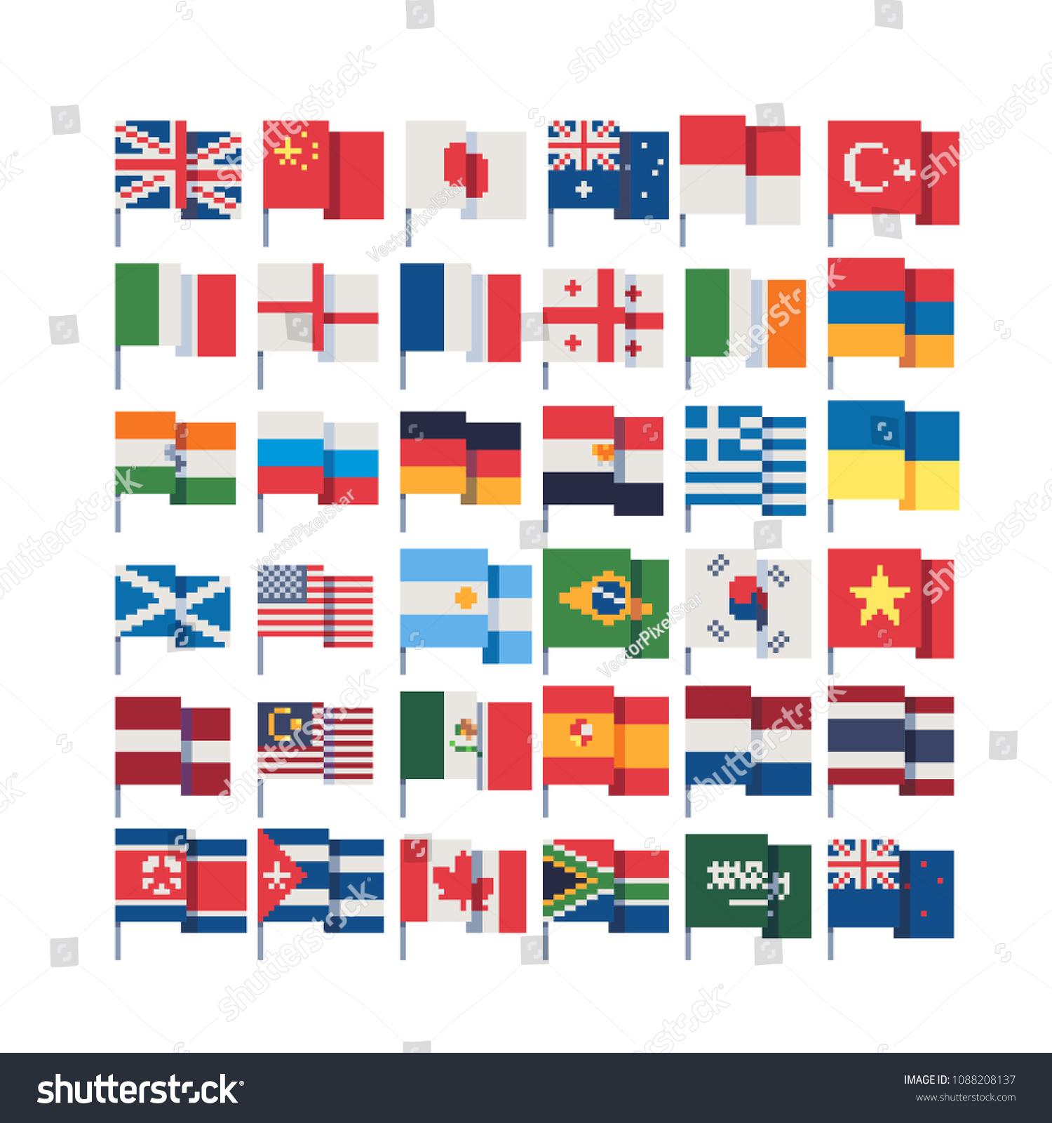 Image Vectorielle De Stock De Drapeaux De Différents Pays