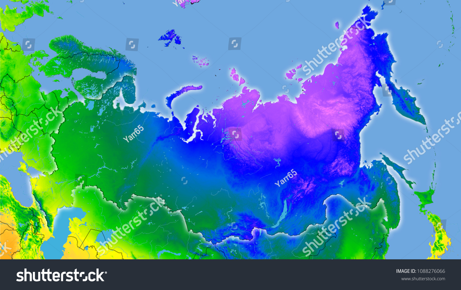 Russia Area On Annual Temperature Map Stock Illustration Royalty