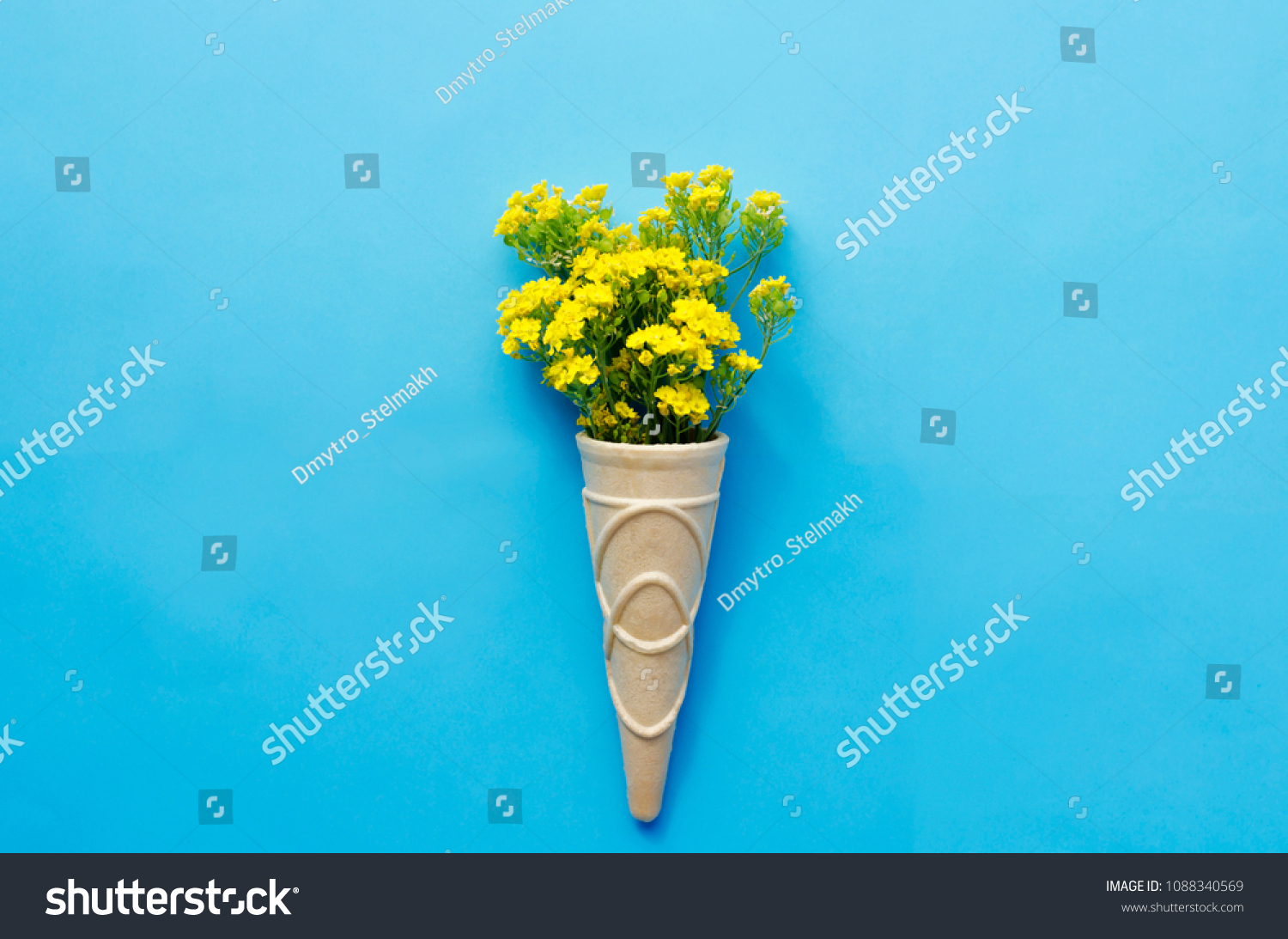 Bouquet Yellow Flowers Containers Ice Cream Stock Photo Royalty