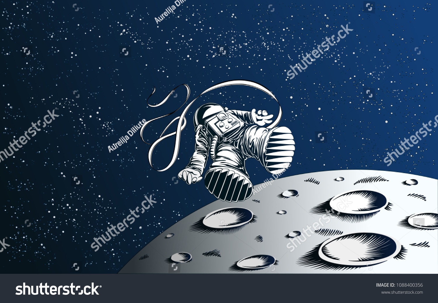 stock vector lost astronaut wallpaper blown away spaceman with moon and starry background 1088400356