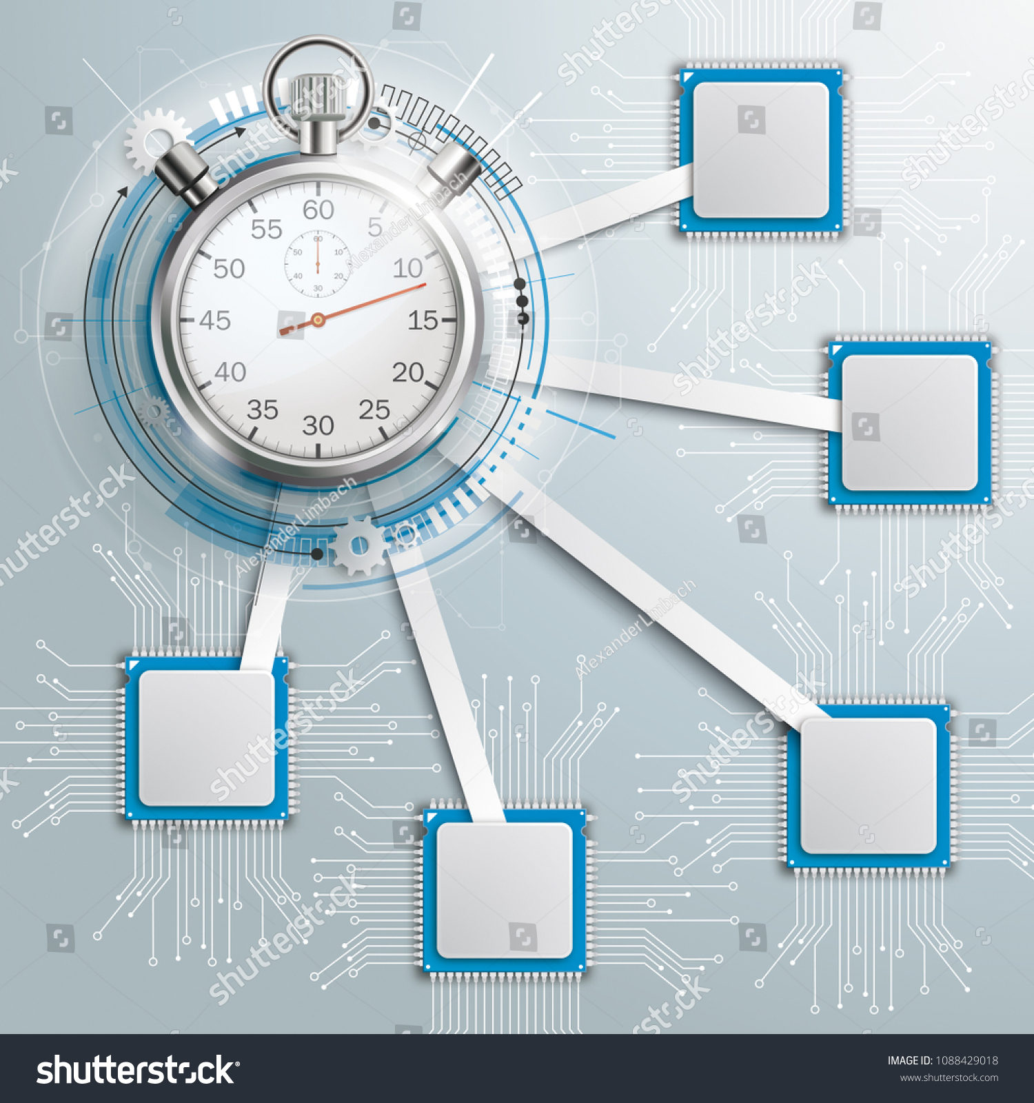 Infographic Design Microchips Stopwatch On Gray Stock Vector Electronic Circuit With And The Background Eps 10 File