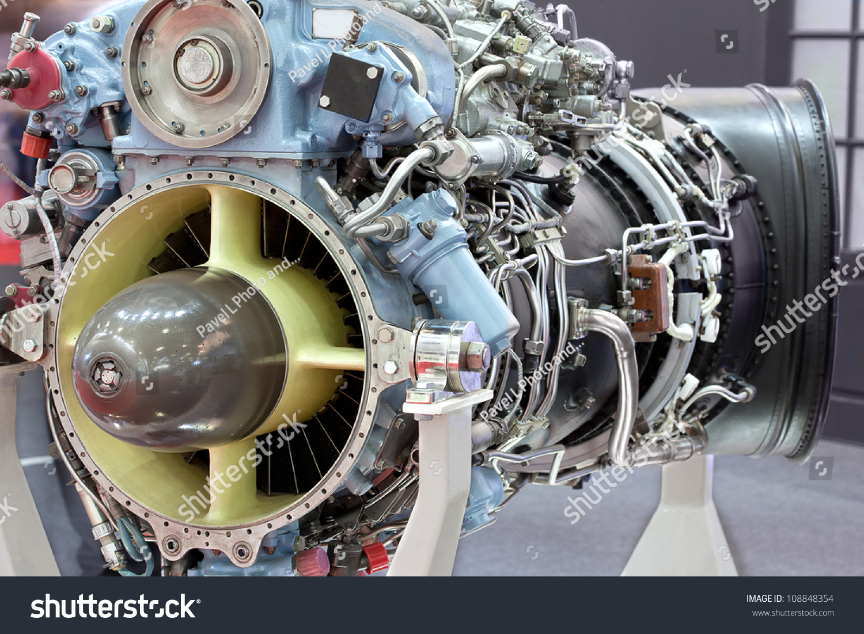 Motor Helicopter Turbine On Exhibition Stock Photo