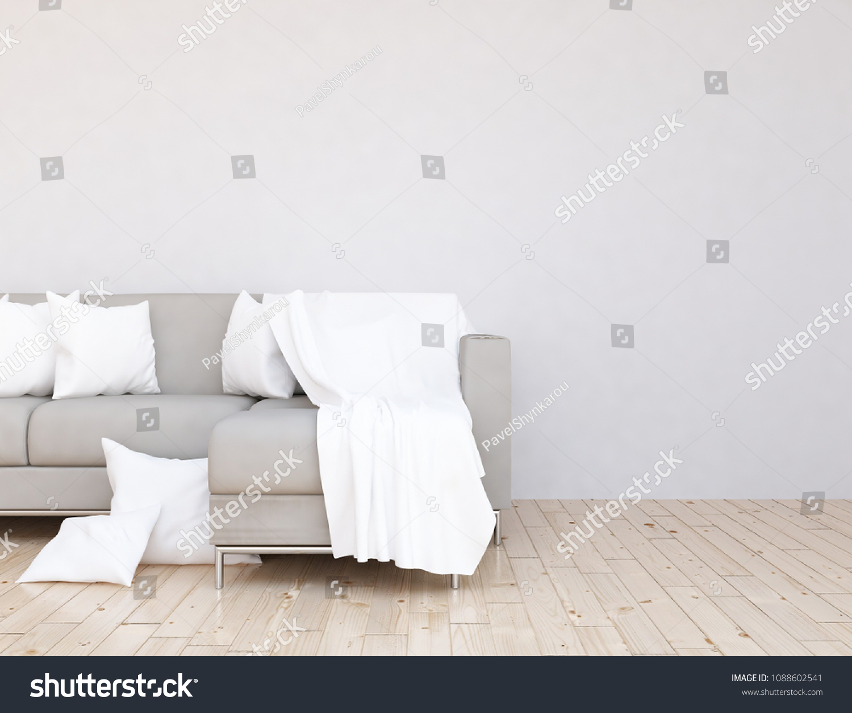 Idea White Scandinavian Living Room Interior Stockillustration