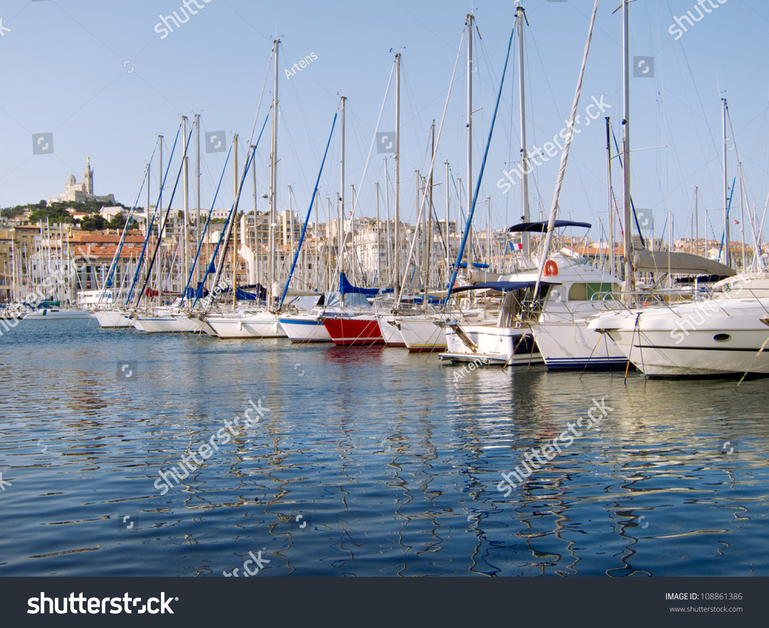 marseille old port yachts seascape stock photo 108861386. Black Bedroom Furniture Sets. Home Design Ideas