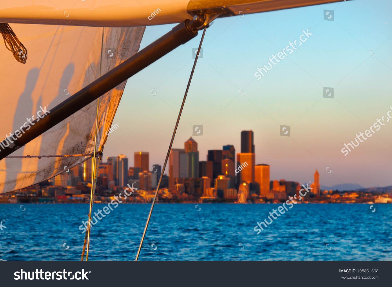 Sunset Cruise Sail Framing Seattle Skyline Stock Photo (Royalty Free ...