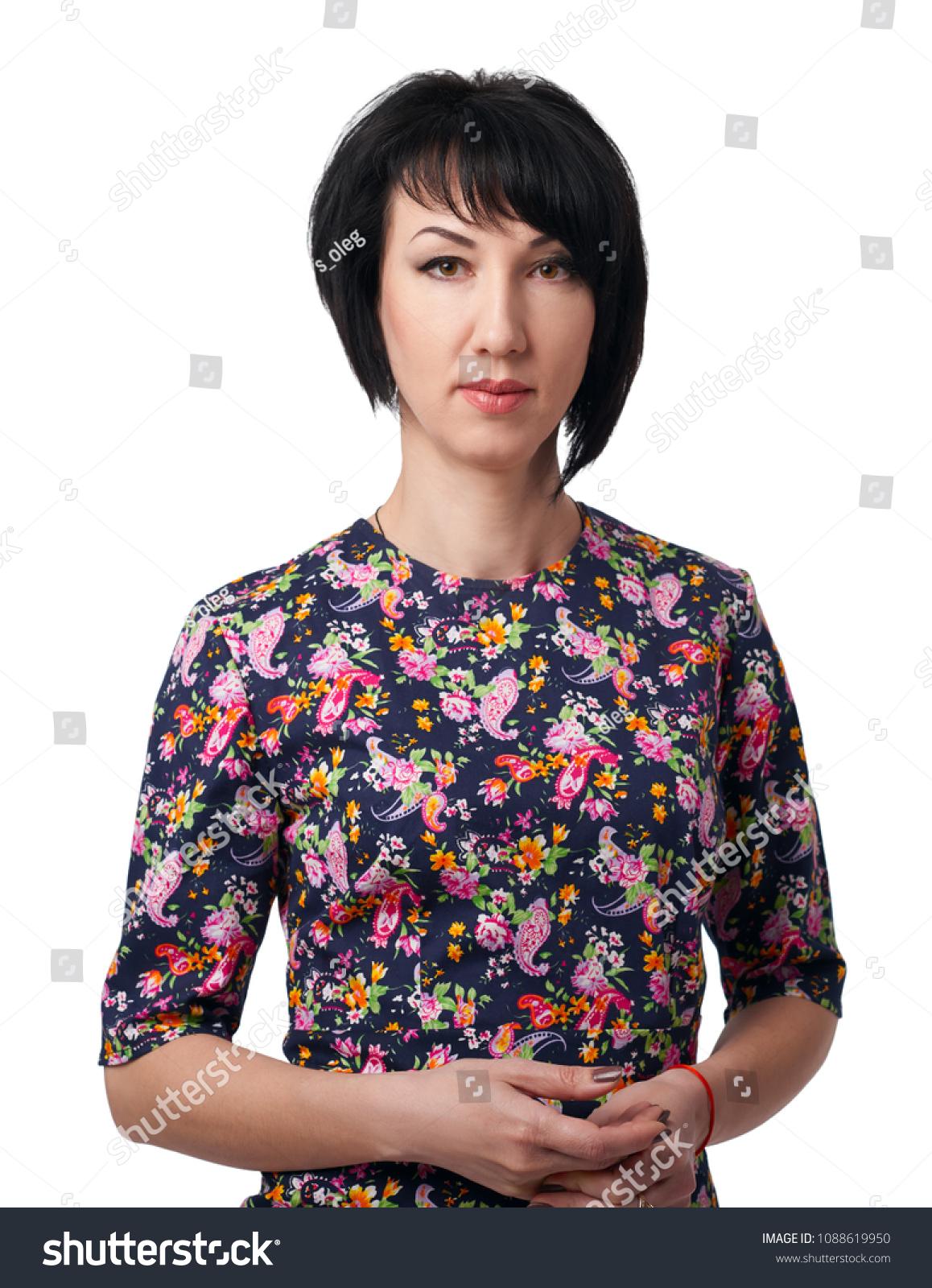Woman Dress Flower Pattern Posing On Stock Photo Edit Now