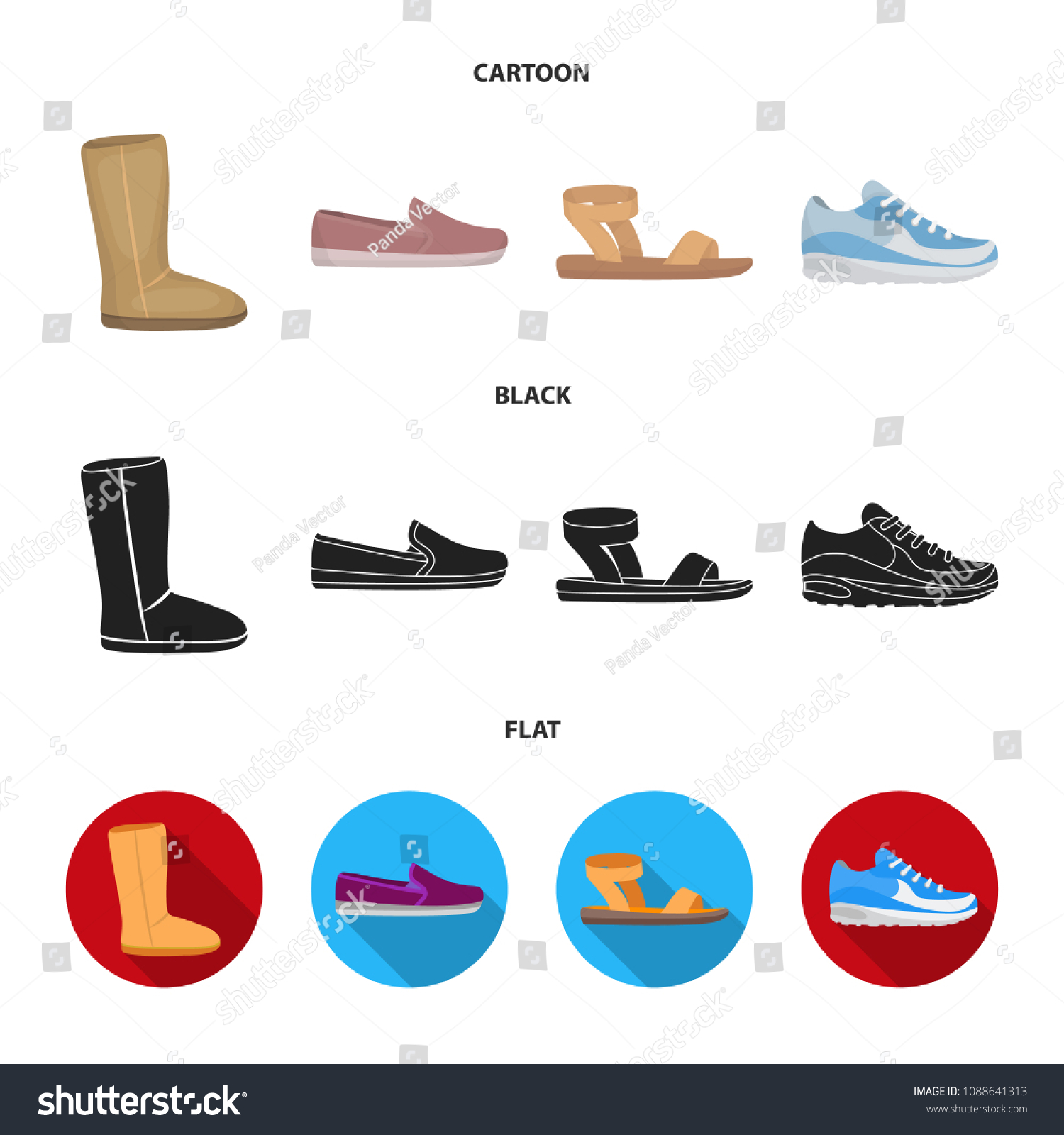 a9698b9d527 Beige Ugg Boots Fur Brown Loafers Stock Vector (Royalty Free ...