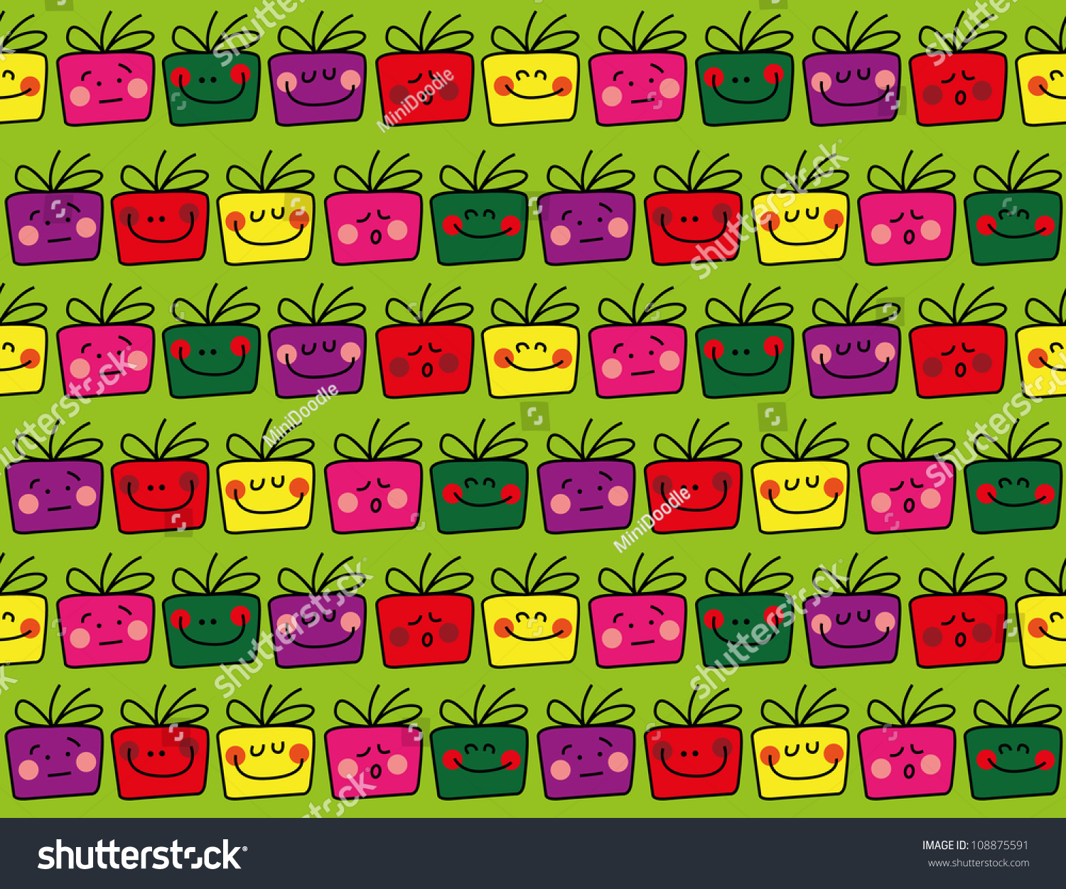Seamless Gift Pattern Ideal Gift Card Stock Vector 108875591 ...