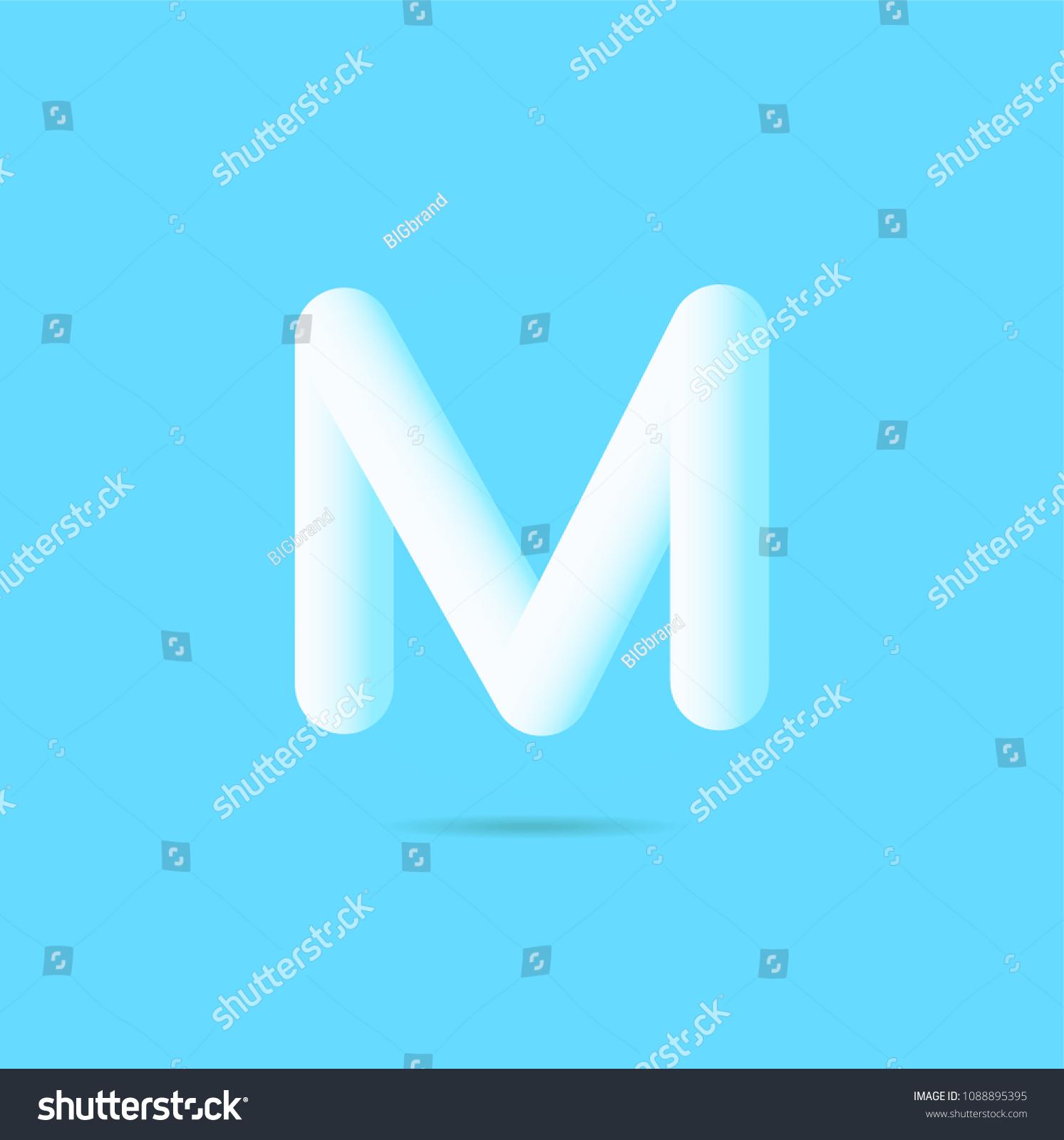 letter m 3d bubble text logo vector