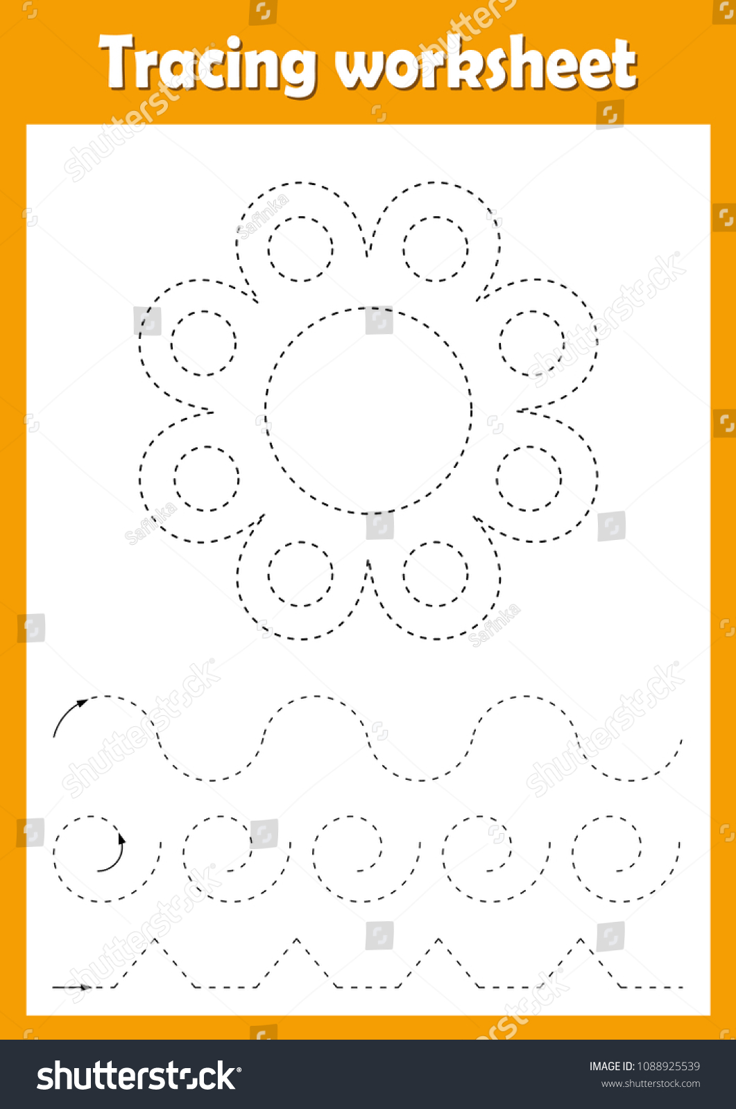Preschool Kindergarten Tracing Worksheet Dashed Lines Stock Vector