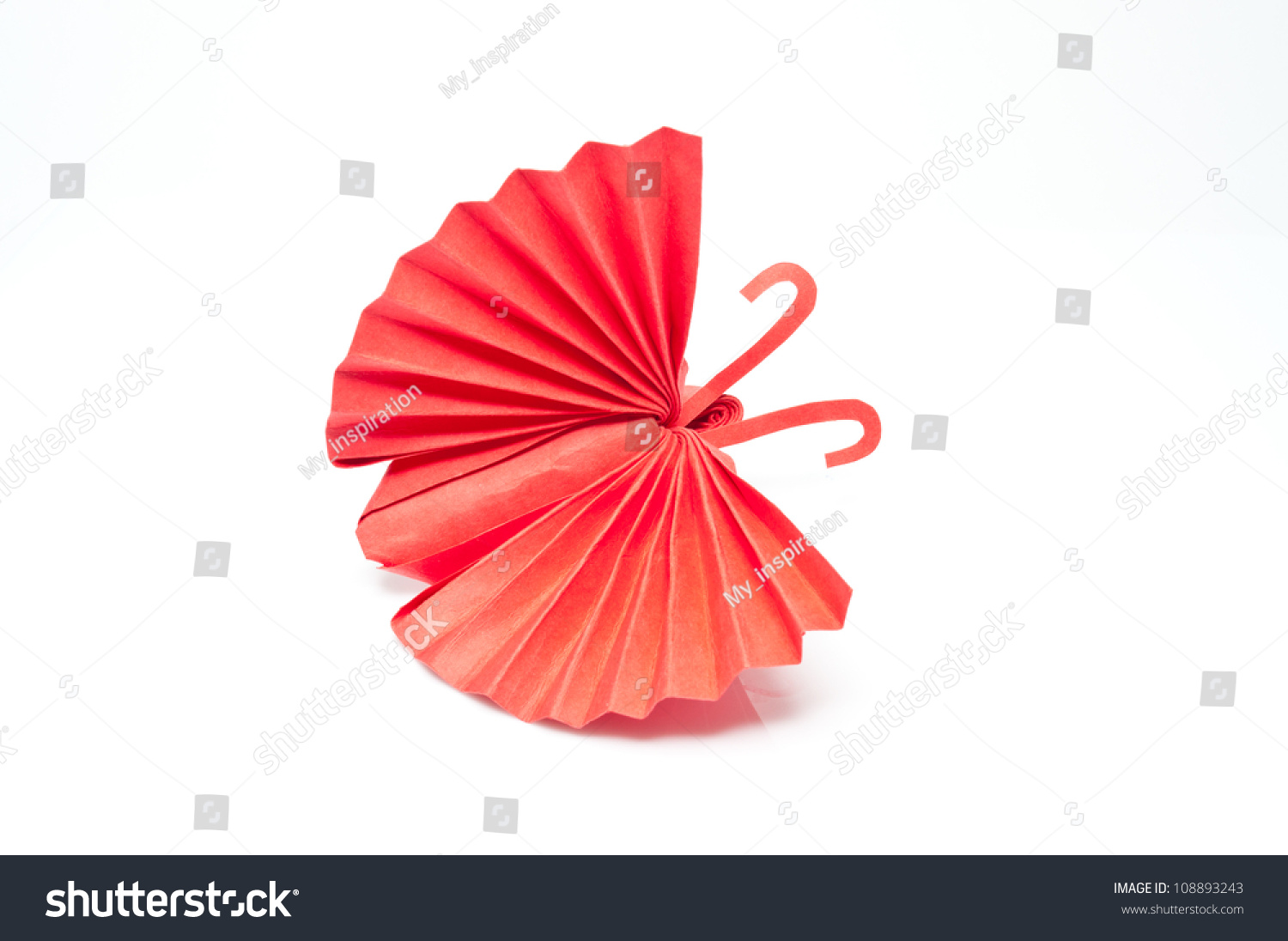 Origami japanese red paper butterflies on white background for White paper butterflies