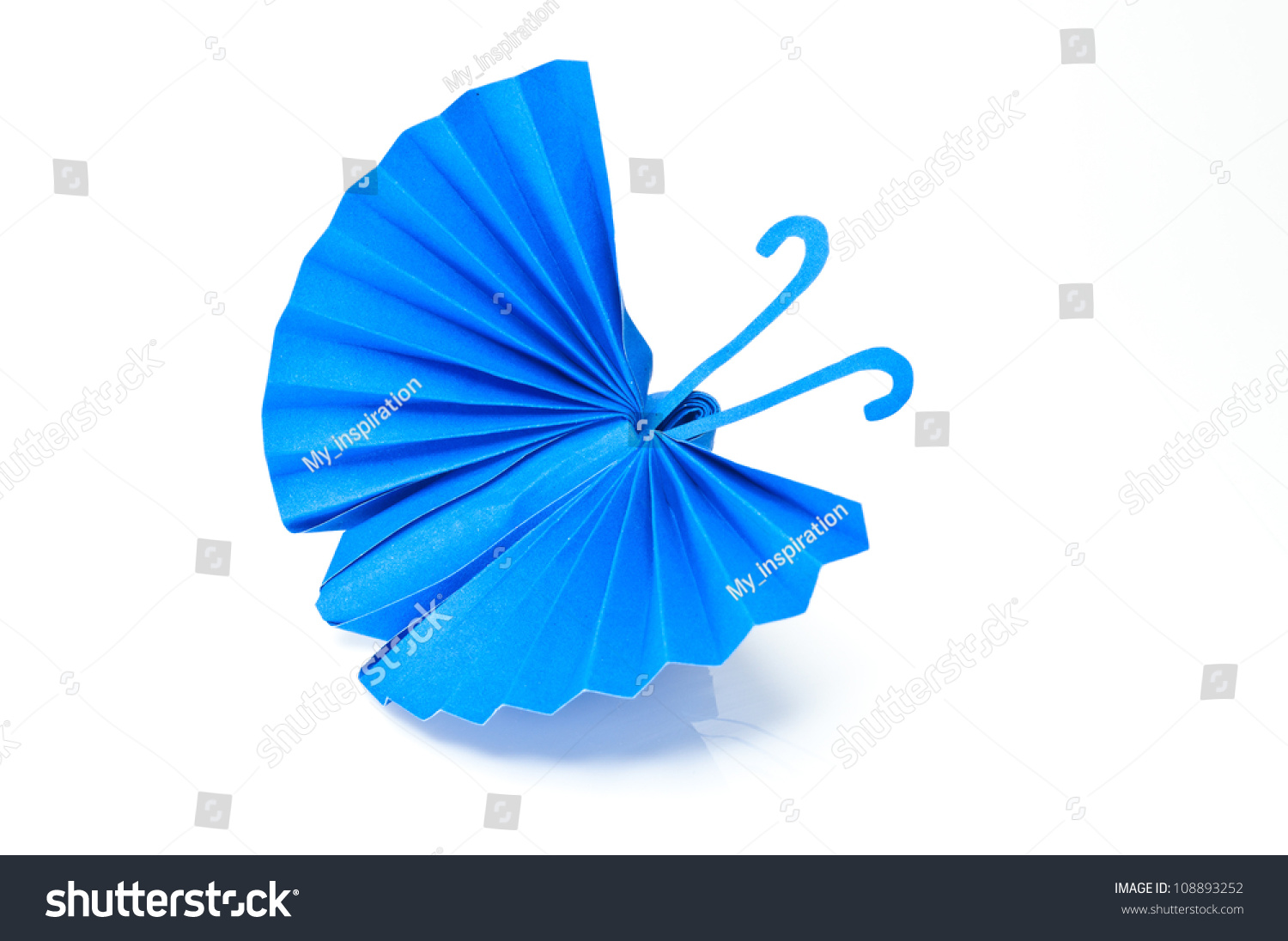 Origami japanese blue paper butterflies on white for White paper butterflies