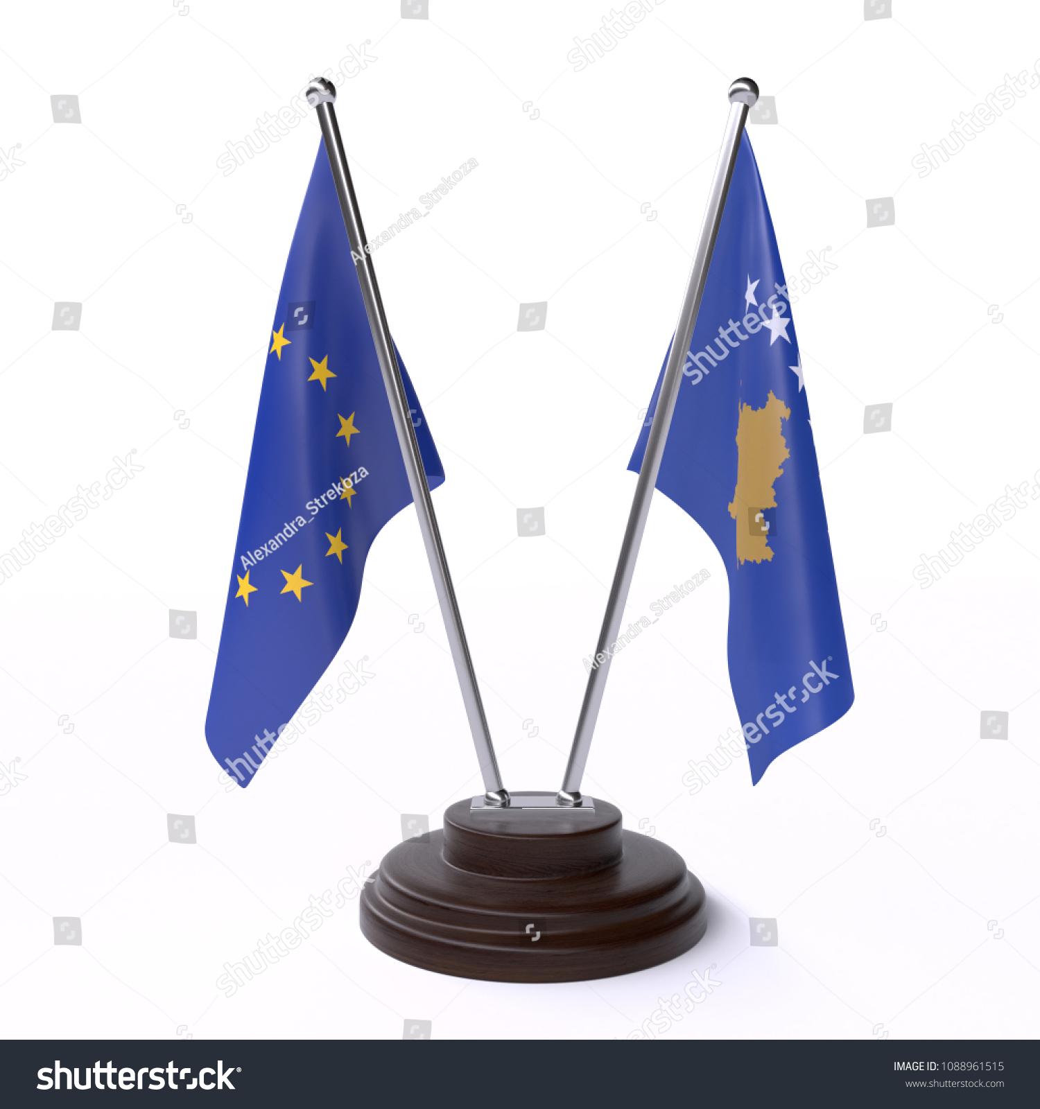 European Union Kosovo Two Table Flags Stock Illustration 1088961515