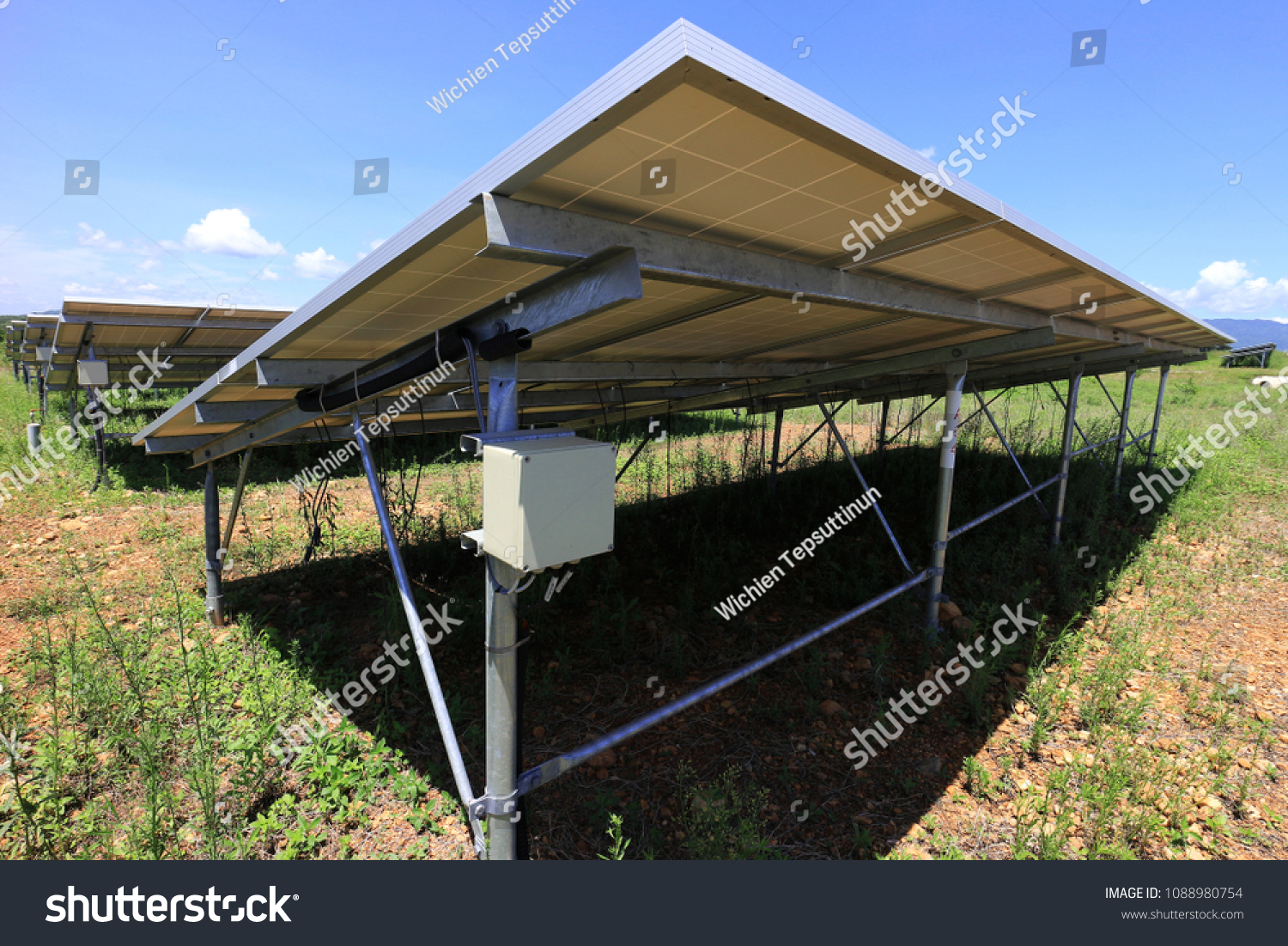 Fuse Box Solar Farm Installed Under Stock Photo Edit Now In Old Silver Of Pv Panels