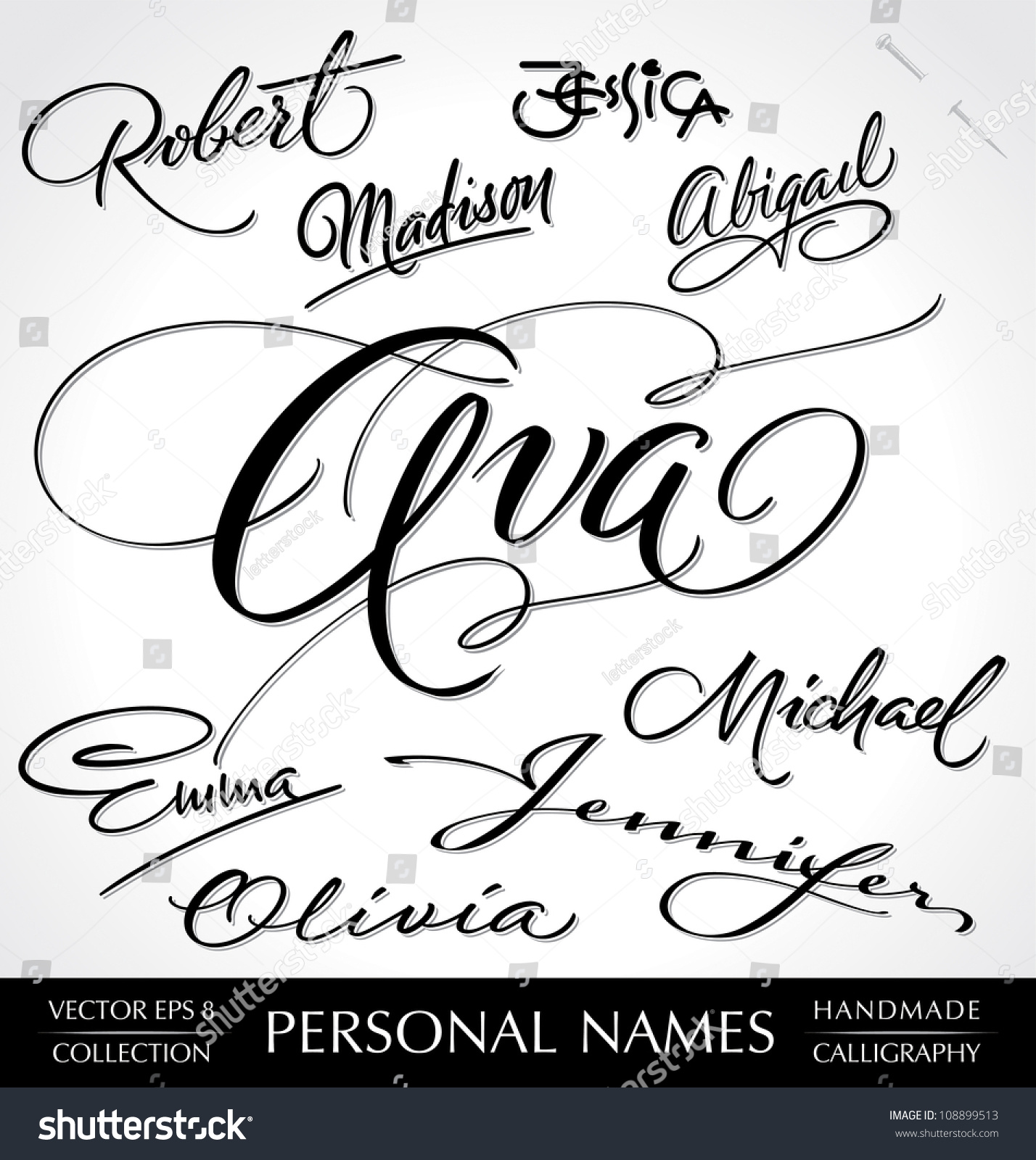 Hand Lettering Set Of 9 Common Personal Names Handmade