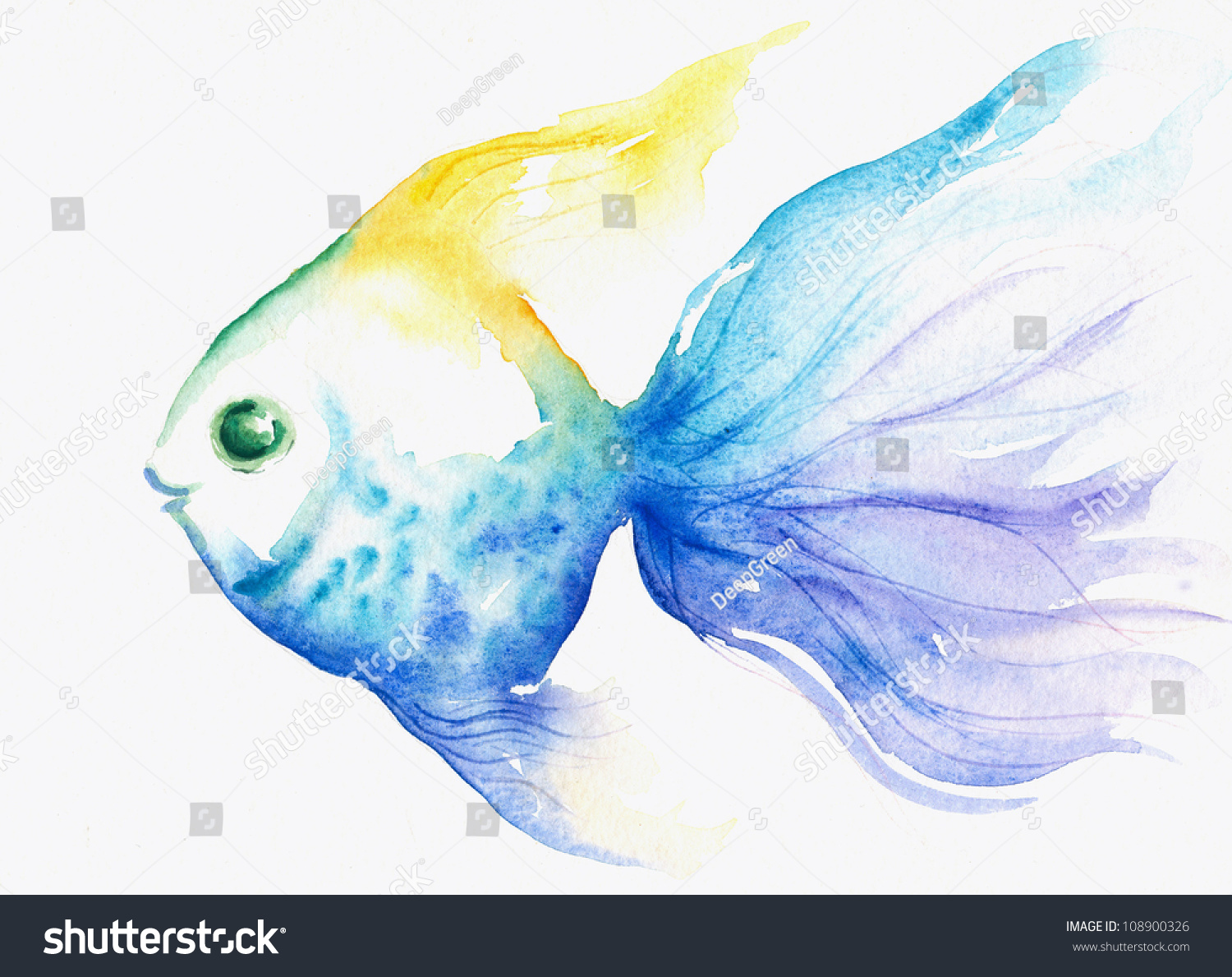 Blue fish watercolor painted stock illustration 108900326 for Fish out of water watercolor