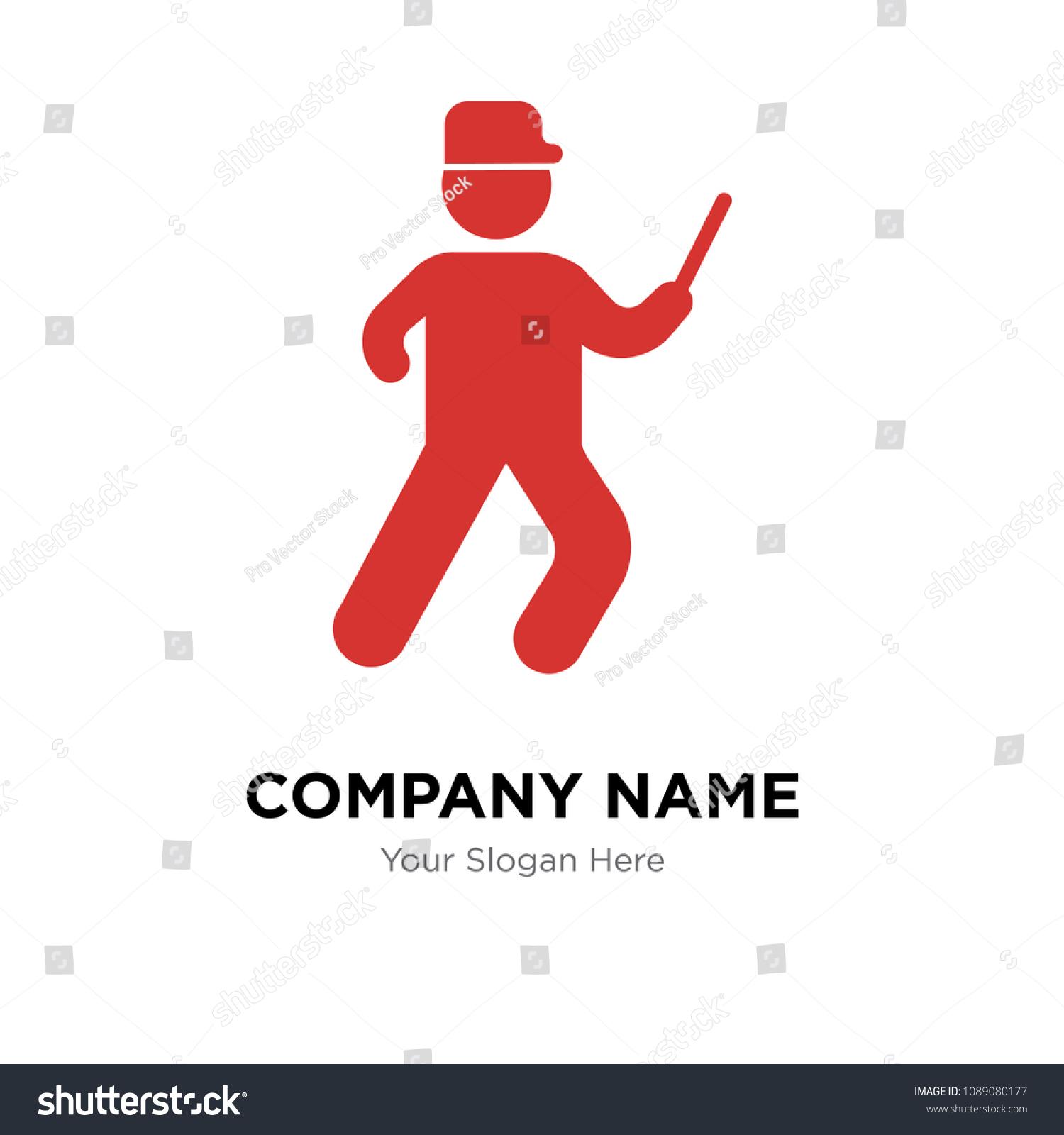 Running Cop Company Logo Design Template Stock Vector Royalty Free