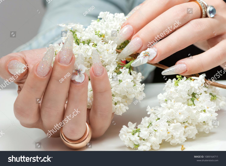 Amazing 3 D Flower Nail Art Design Stock Photo Edit Now 1089164711