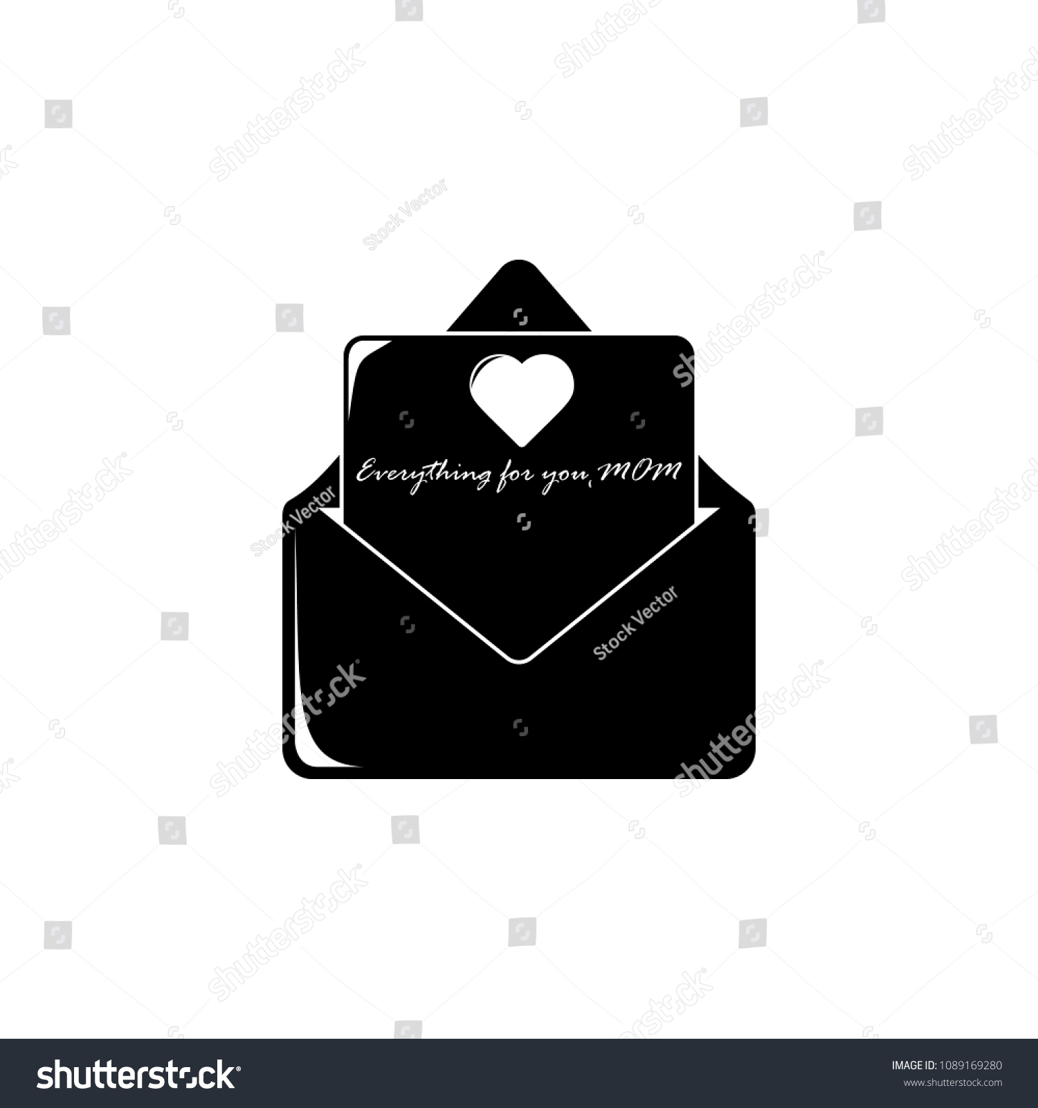 Letter Mom Envelope Icon Element Mother Stock Illustration