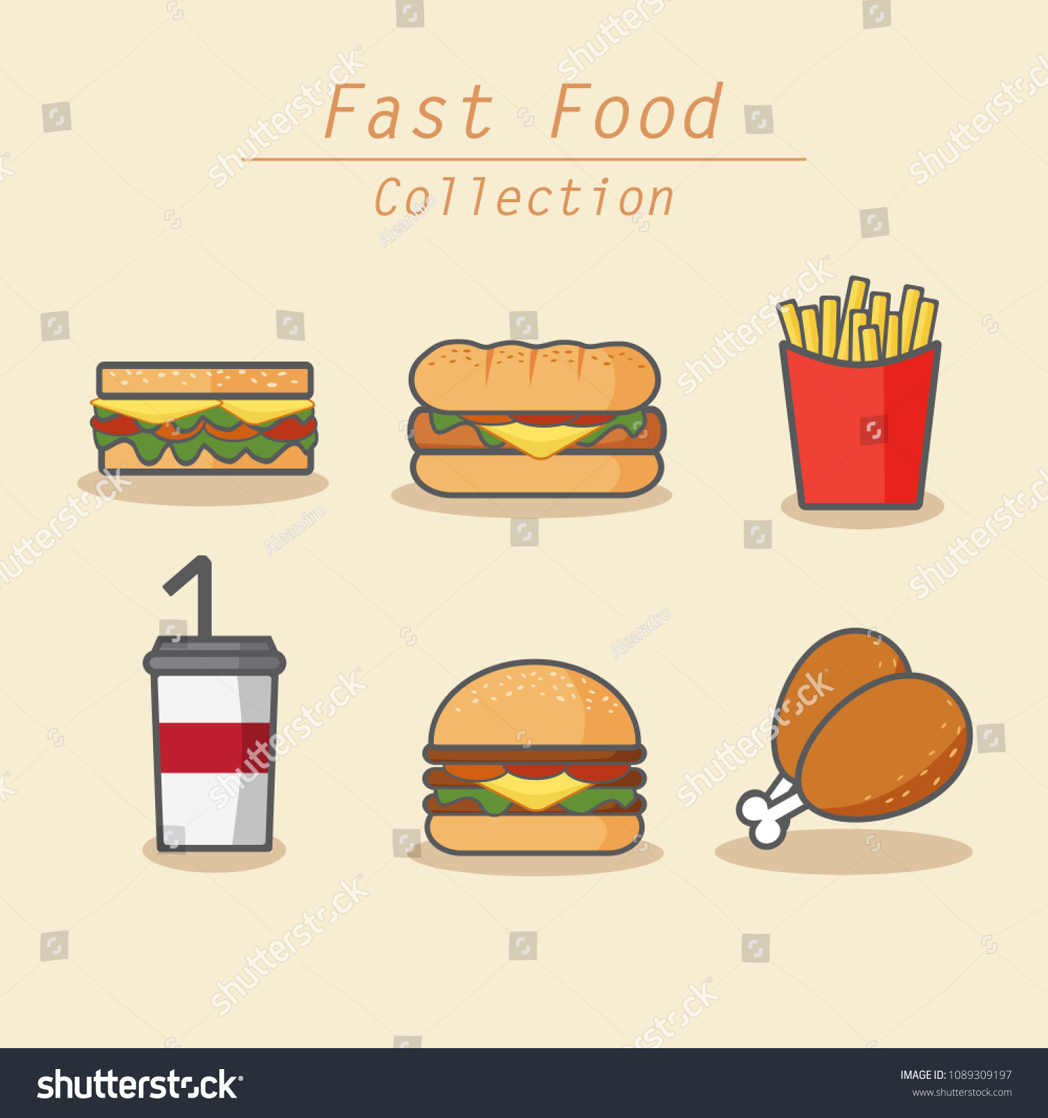 Fast Food Collection Colored Icons Set Stock Vector Royalty