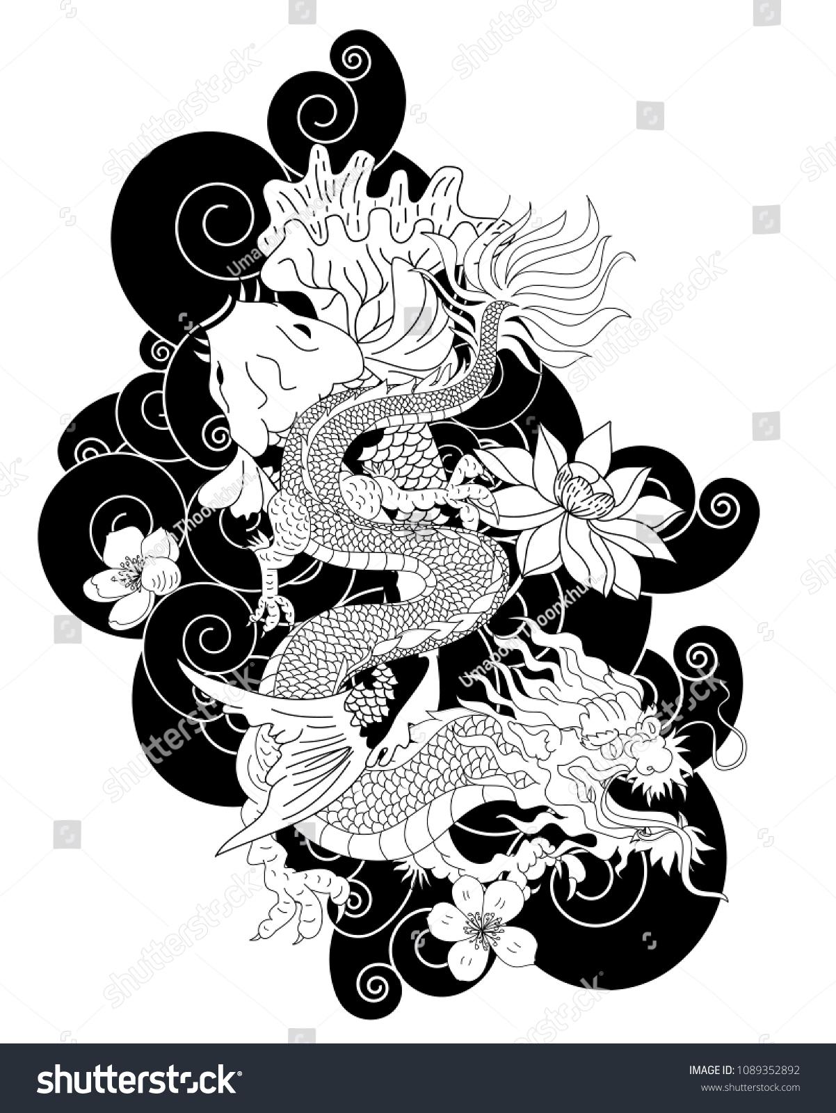 Japanese Dragon Koi Carp Lotus Flower Stock Vector Royalty Free 1089352892