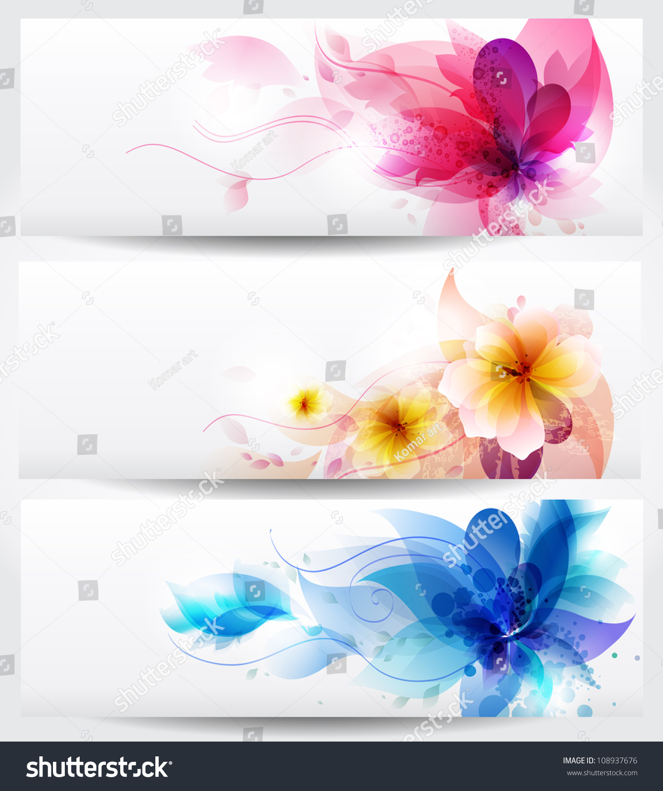 Flower Background Brochure Template. Set Of Floral Cards