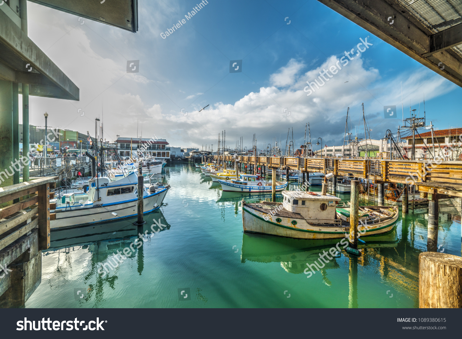 Boats in Fisherman's wharf in San Francisco. California, USA #1089380615