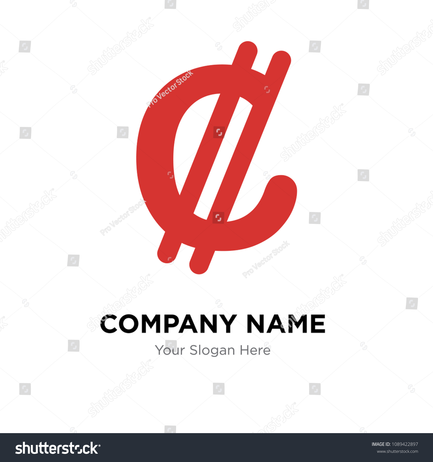 Costa Rica Currency Company Logo Design Stock Vector Royalty Free