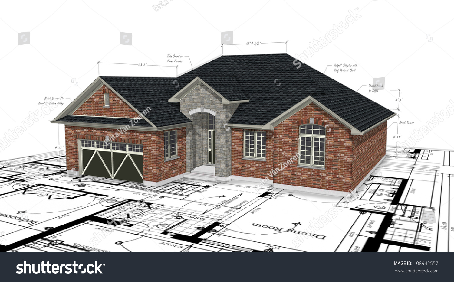 Red Brick House Plans Stock Illustration 108942557