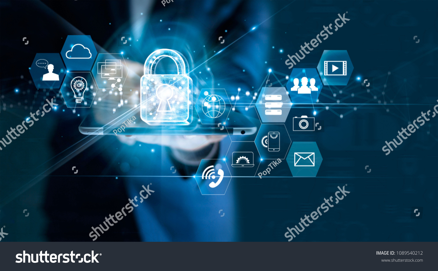 Data protection privacy concept. GDPR. EU. Cyber security network. Business man protecting data personal information on tablet. Padlock icon and internet technology networking connection on digital  #1089540212