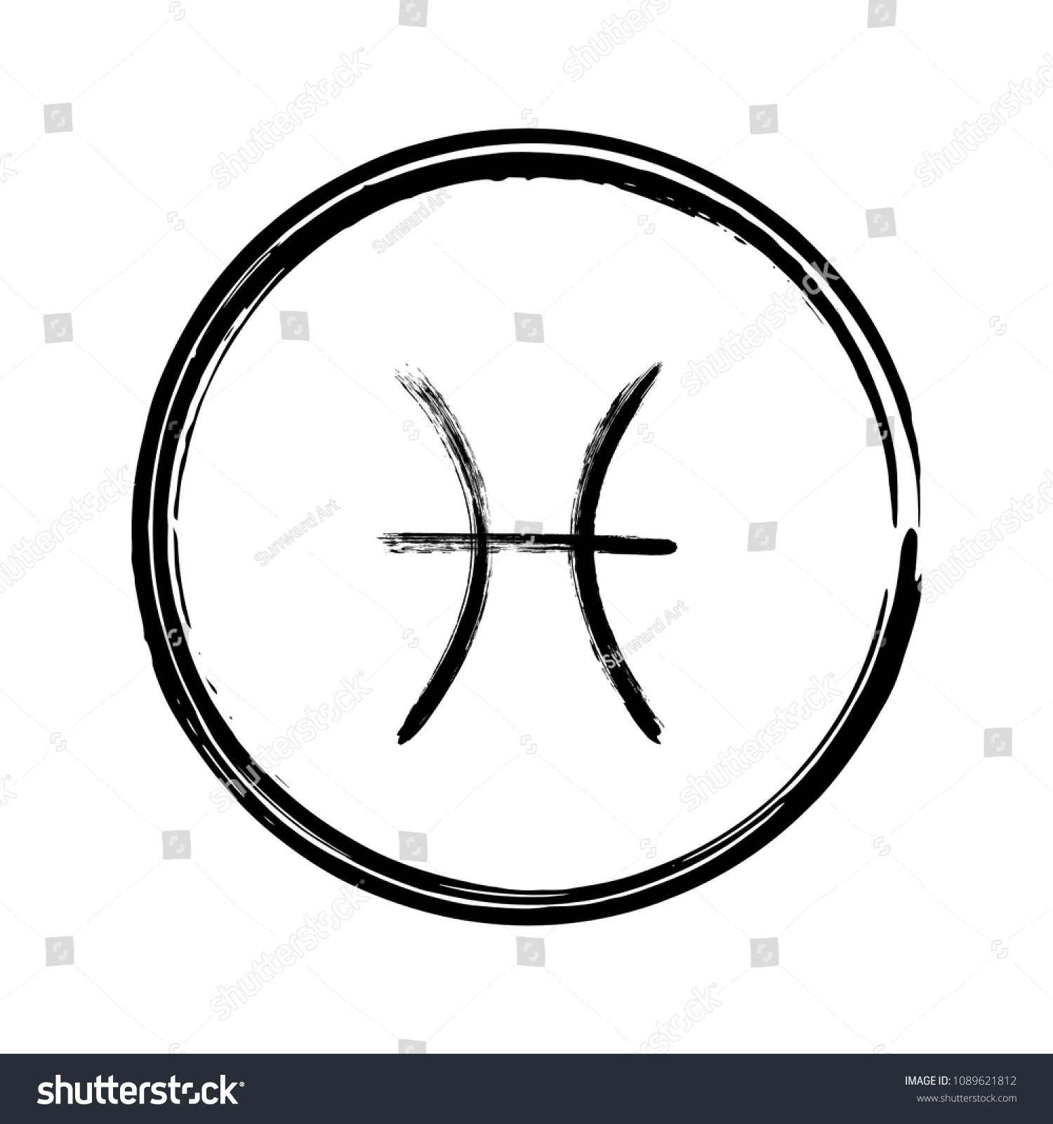Black Pisces Horoscope Icon Hand Painted Stock Vector Royalty Free