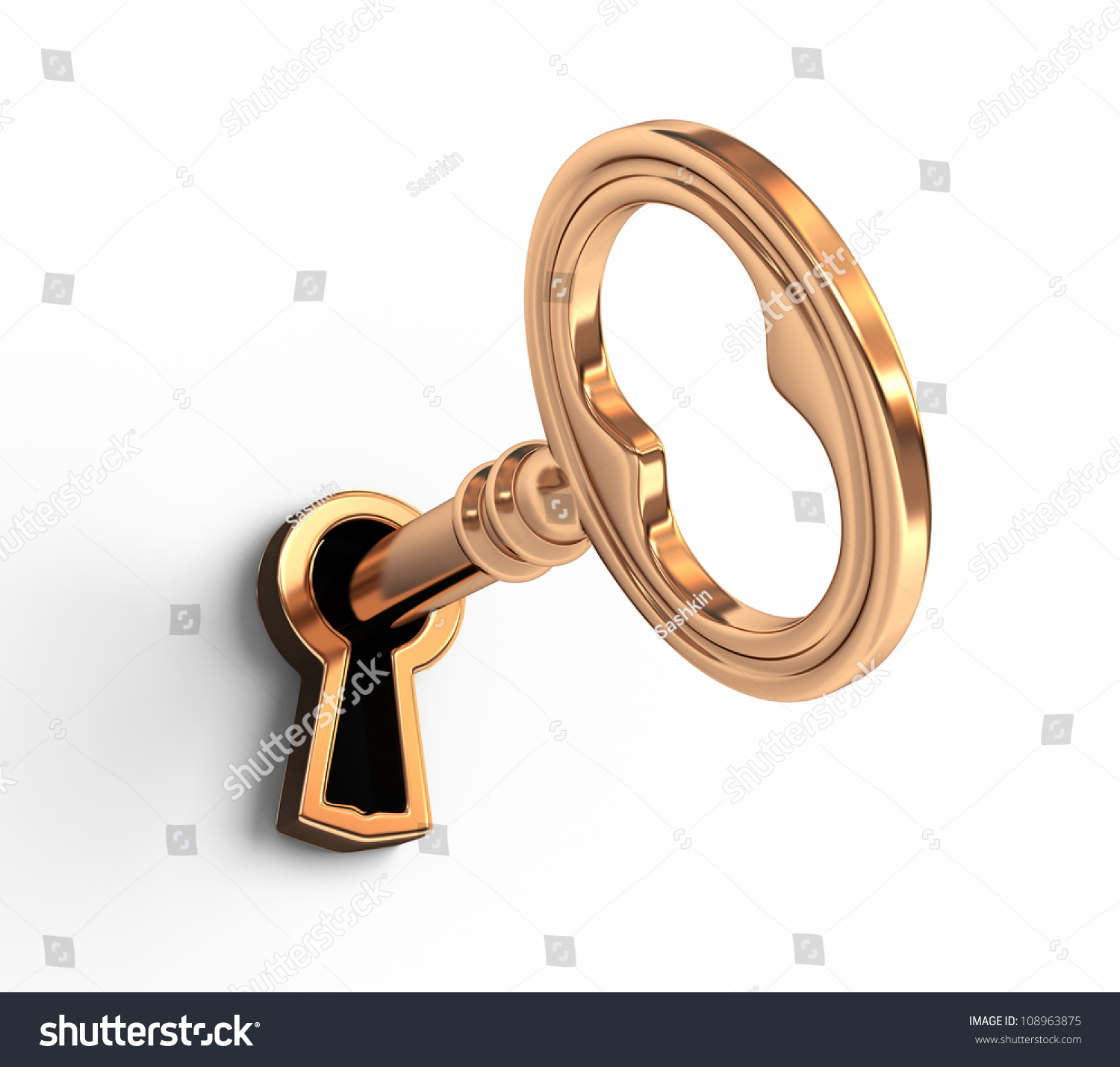 With golden key 3d rendering plan concept with golden key 3d rendering - Golden Key In Keyhole