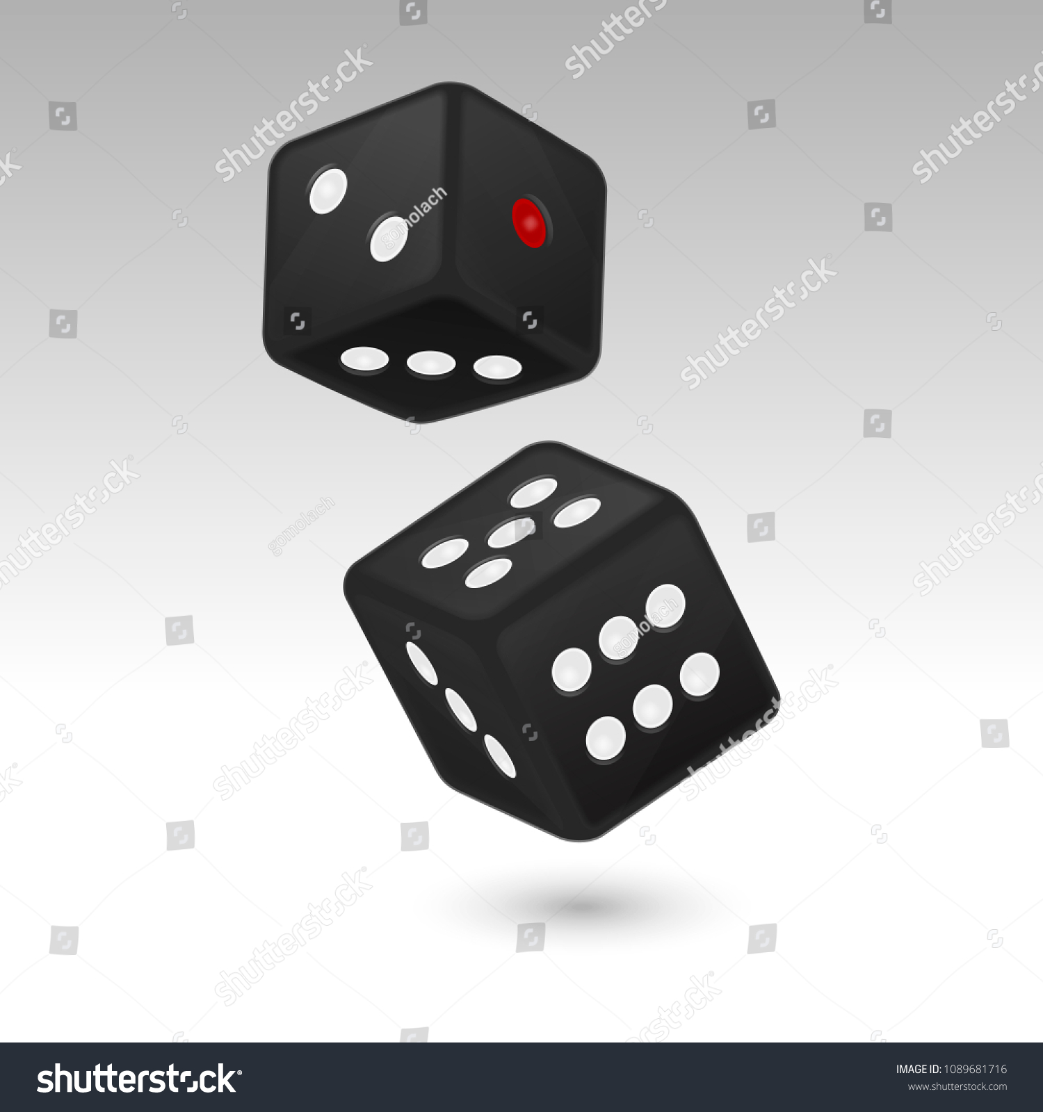 Vector Illustration Of Black Realistic Game Dice Icon In Flight