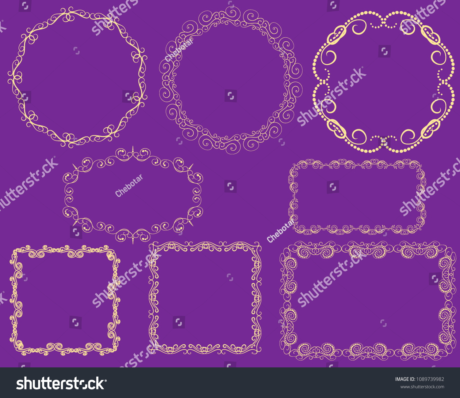 Set Decorative Florish Gold Frames On Stock Vector Royalty Free